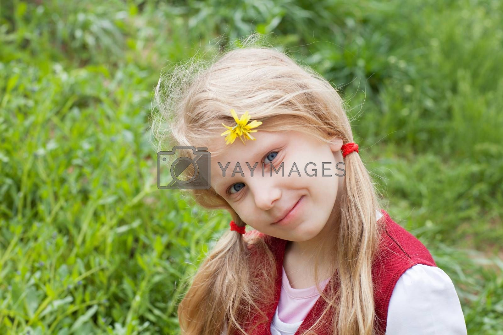 portrait of a girl with flower in hair