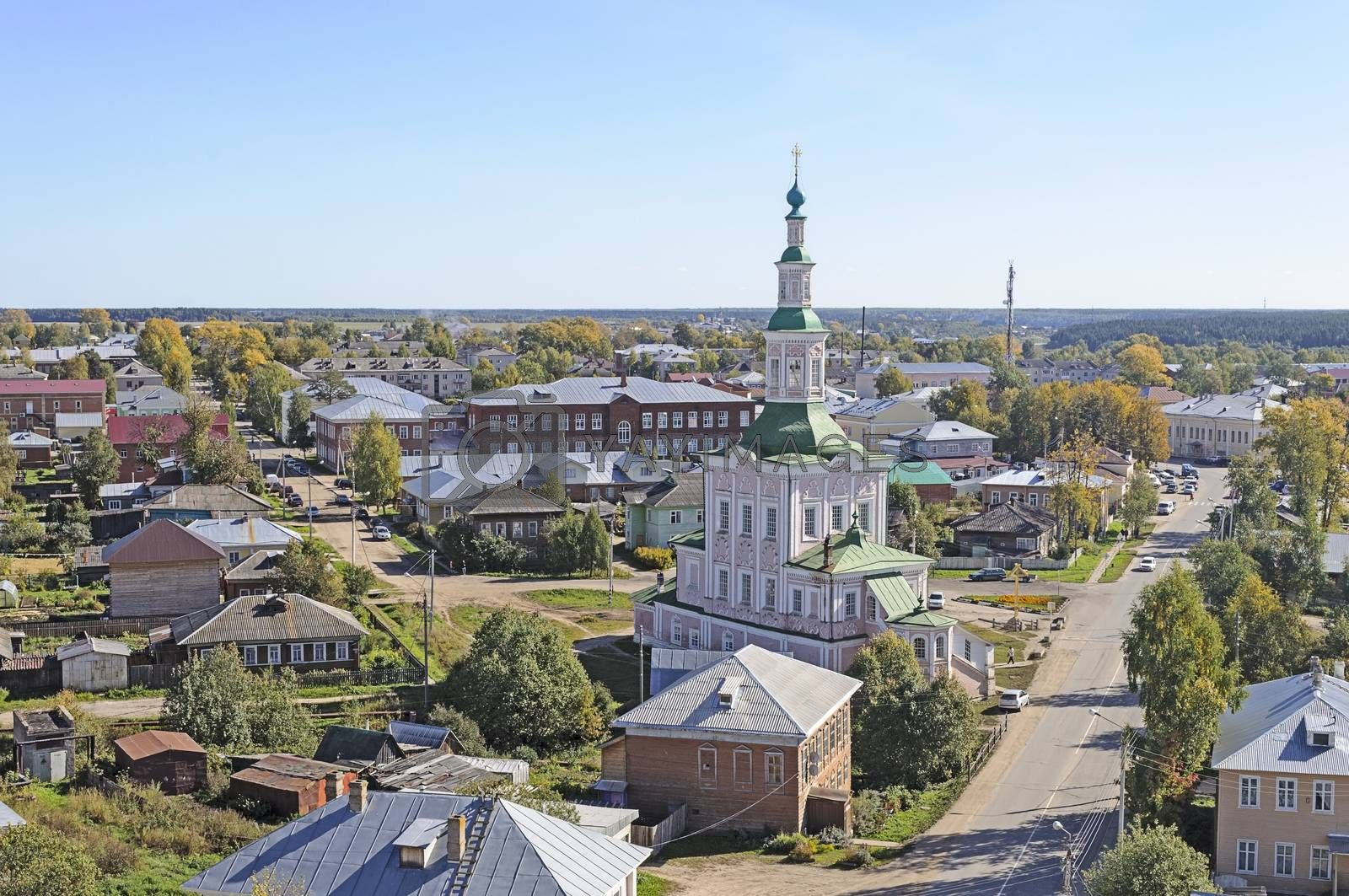 Top view of Totma with Church of the Nativity, northern Russia