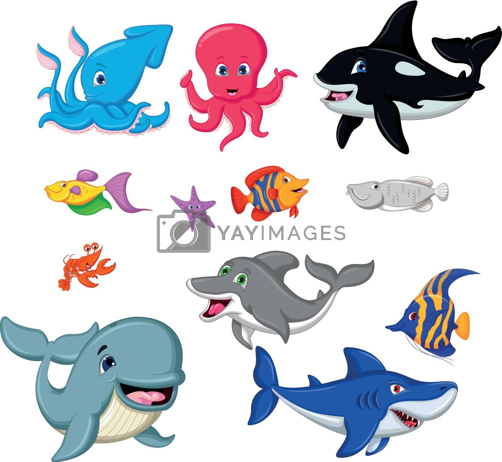 set of cartoon marine animals by sujono