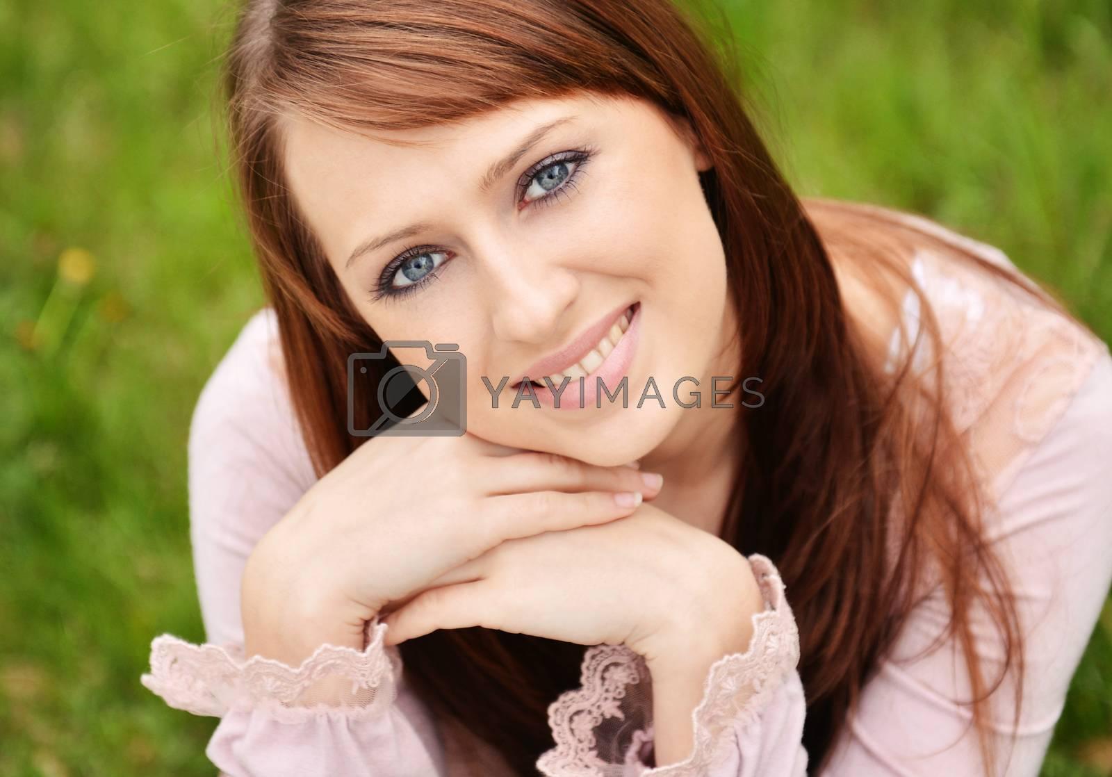 Spring portrait of beautiful caucasian girl