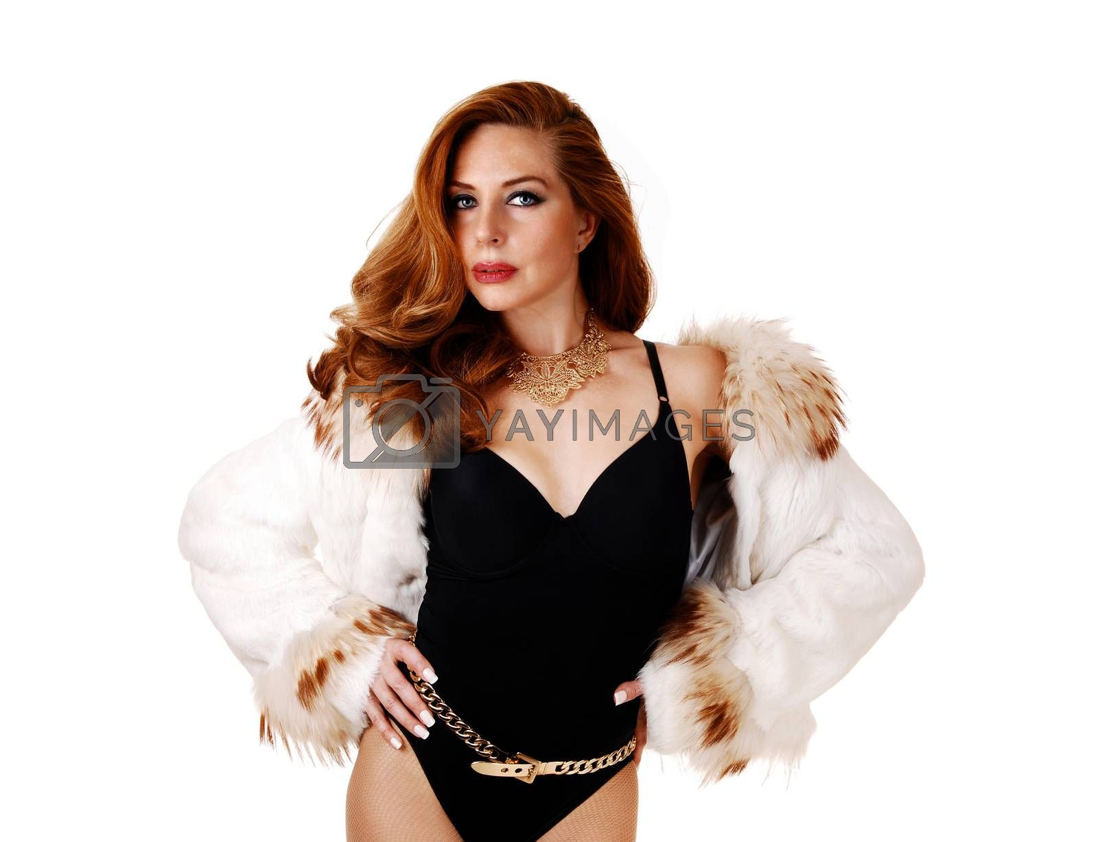 Royalty free image of Woman in corset and fur jacked. by feierabend
