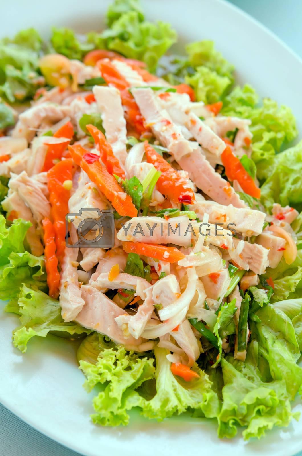 Royalty free image of sausage spicy salad by rakratchada