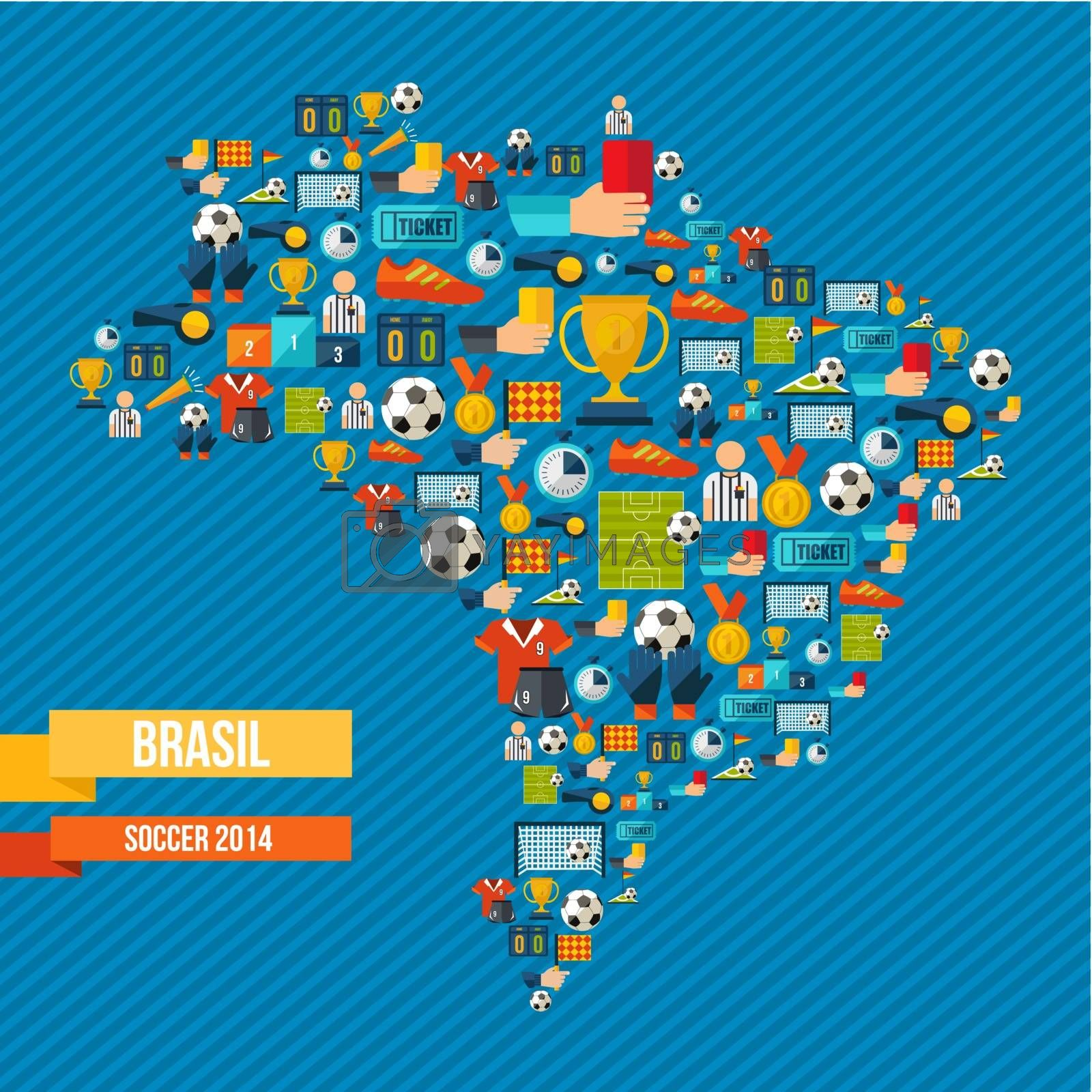 Royalty free image of Soccer icons Brazil map  by cienpies