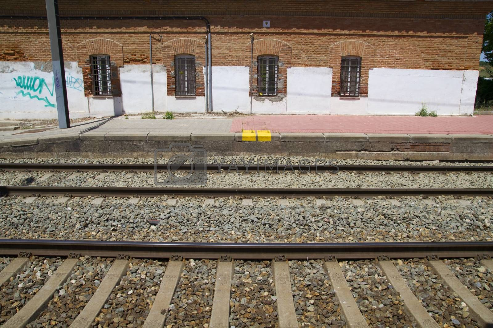 Royalty free image of station, rail station, detail of railways in Spain by FernandoCortes