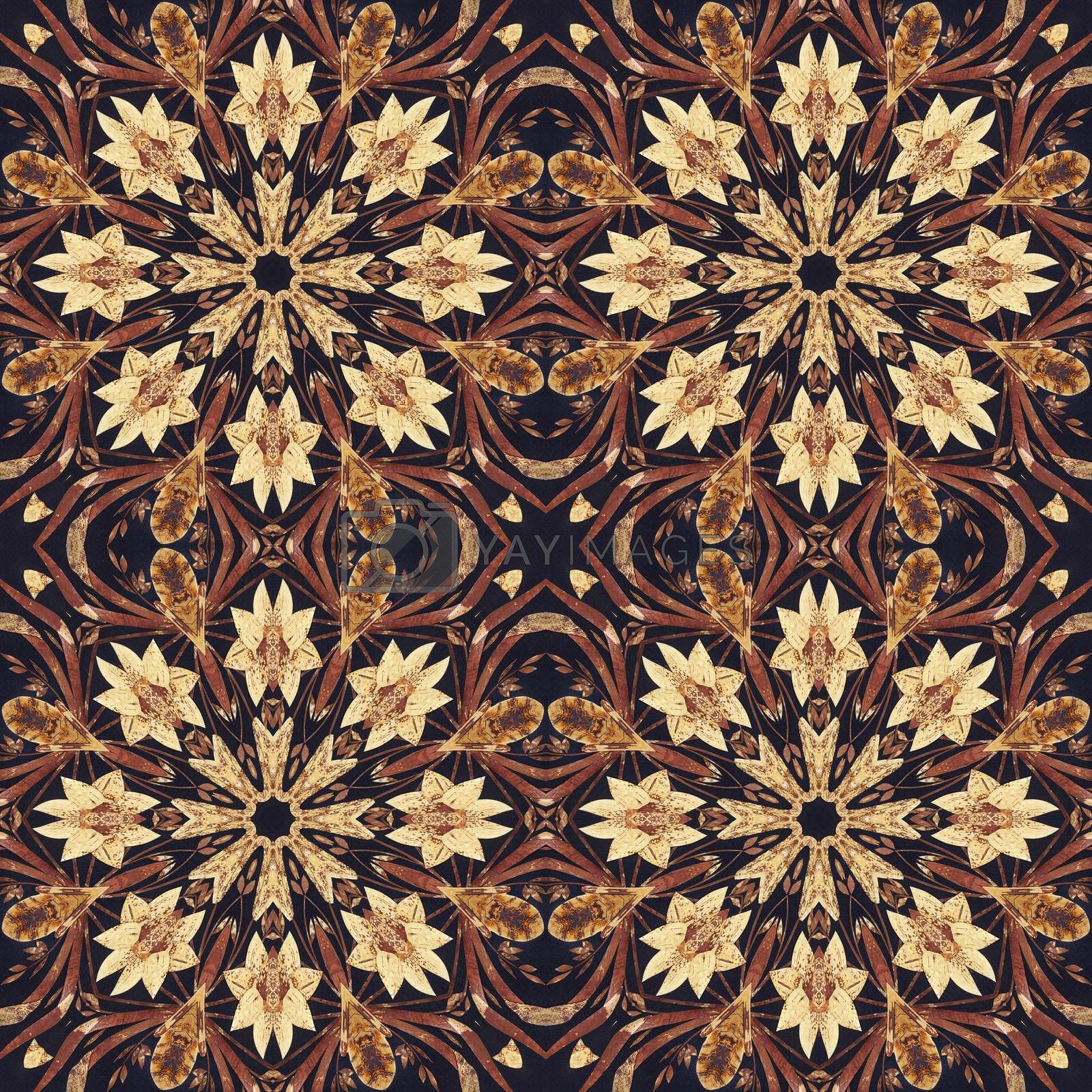 Royalty free image of Seamless floral ornament, bark on fabric by alexcoolok
