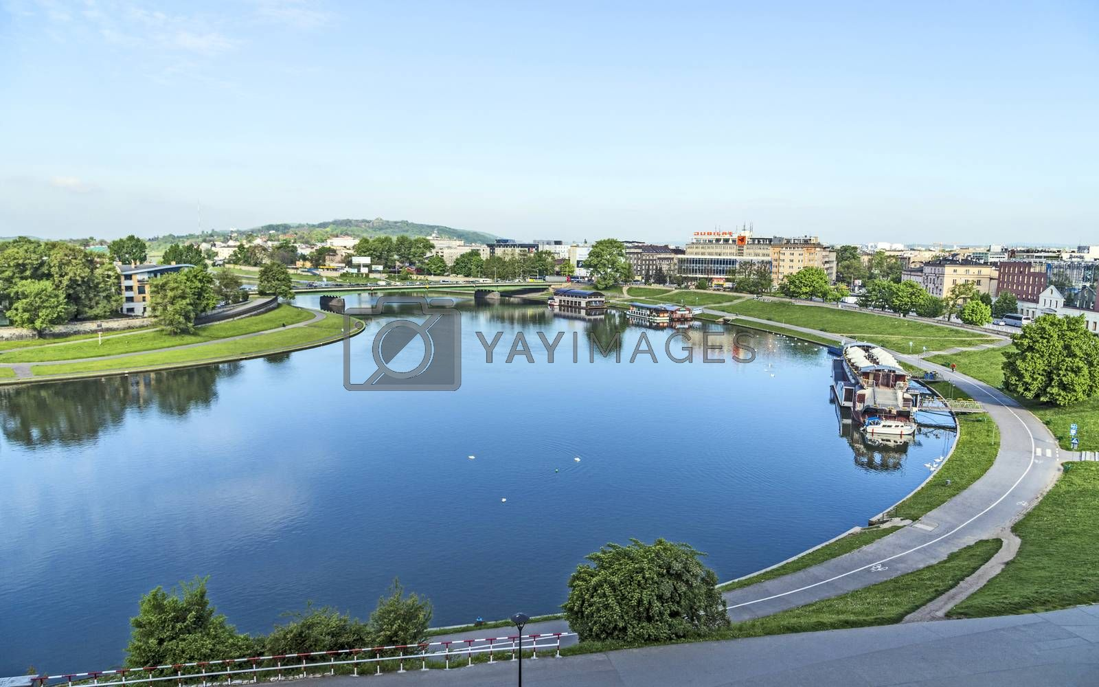 Royalty free image of aerial view of the Vistula River with morning view to old city o by meinzahn