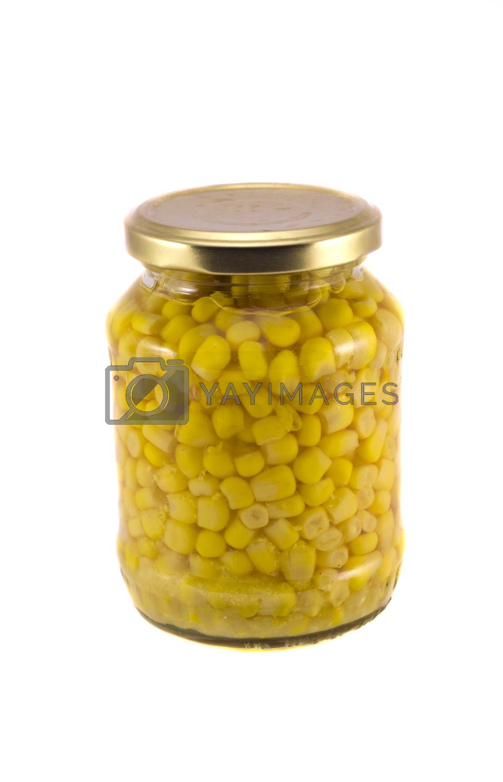 Royalty free image of glass jar with sweet ecological corn isolated on white by alis_photo