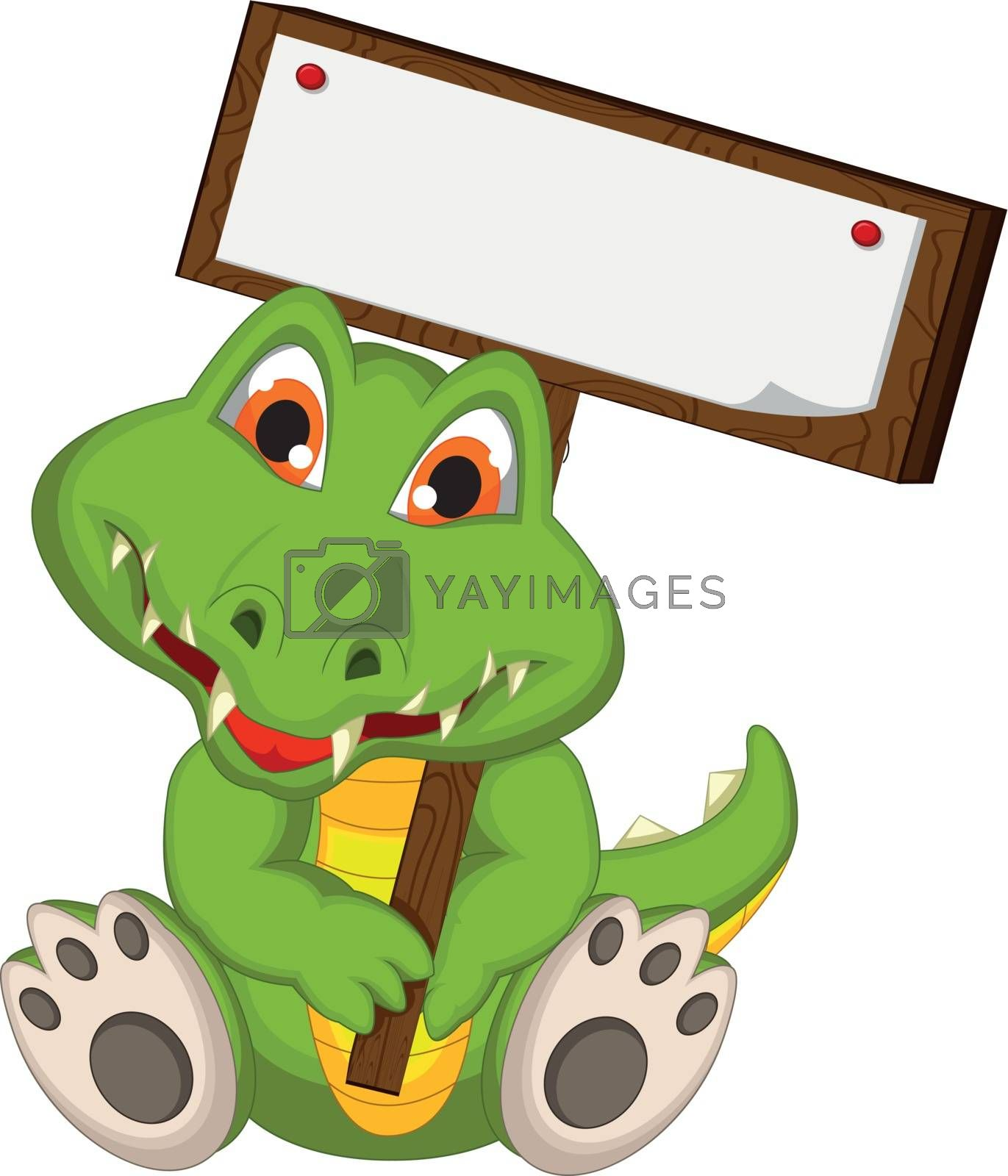 Royalty free image of cute crocodile cartoon holding blank board by sujono