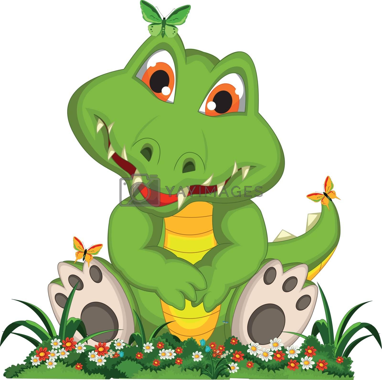 cute crocodile cartoon sitting in flower garden by sujono