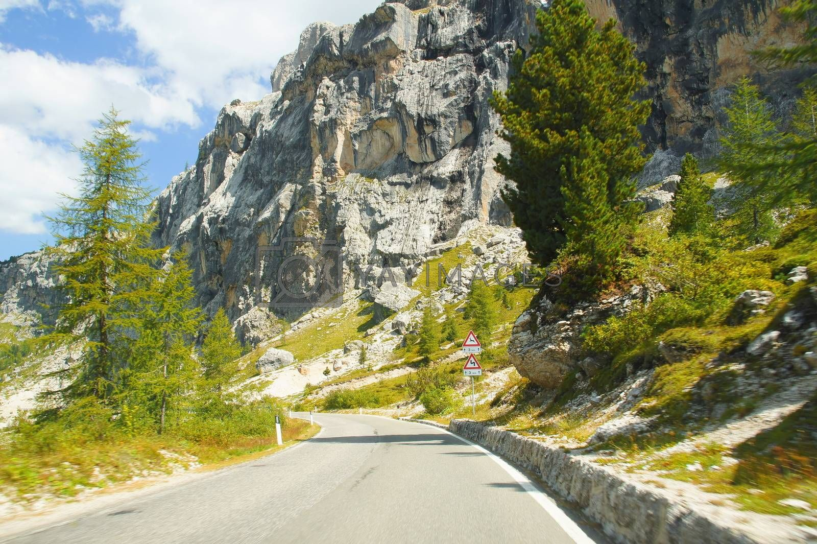Royalty free image of gardena passo street by azurin