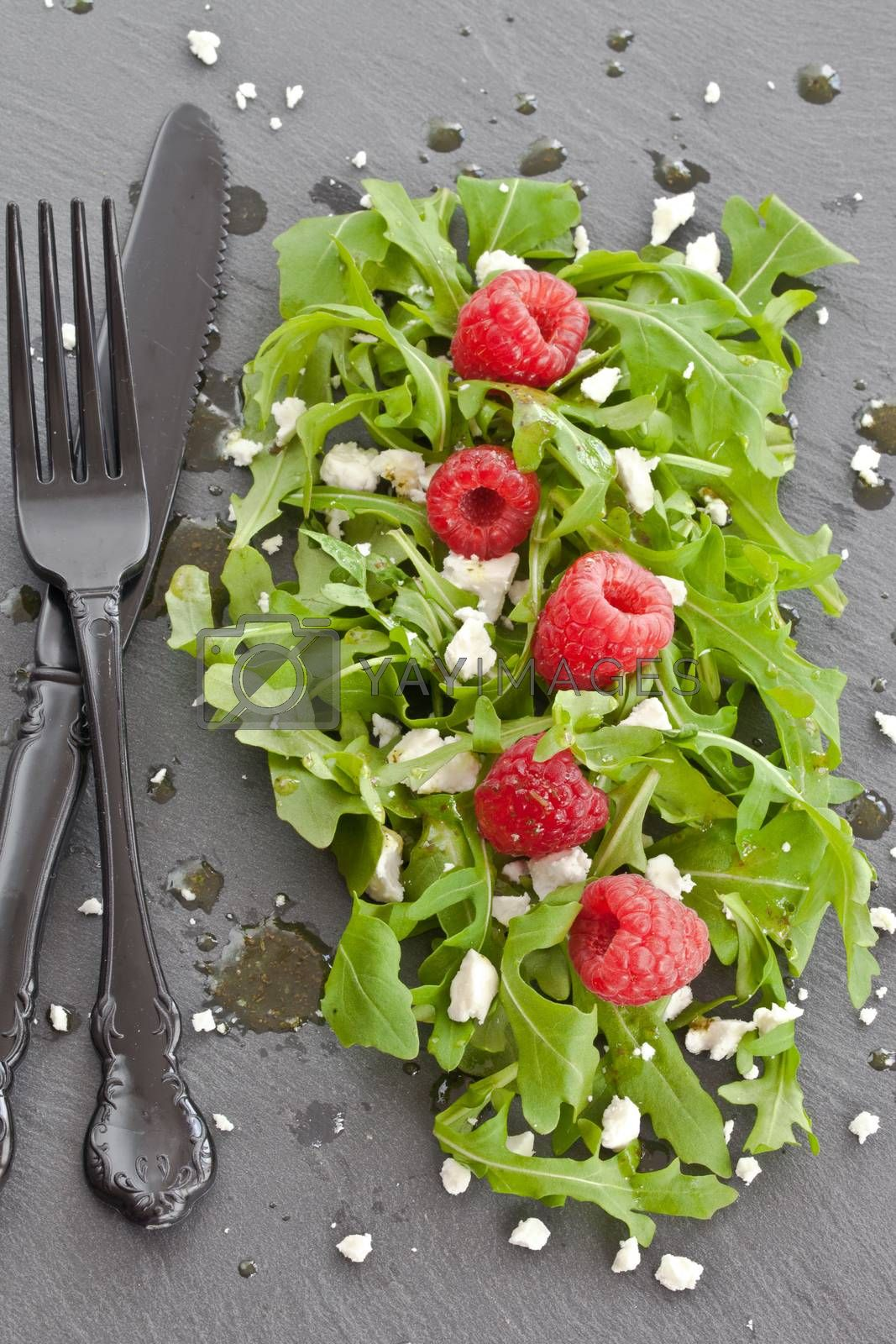 Royalty free image of Arugula with feta and raspberries by BarbaraNeveu