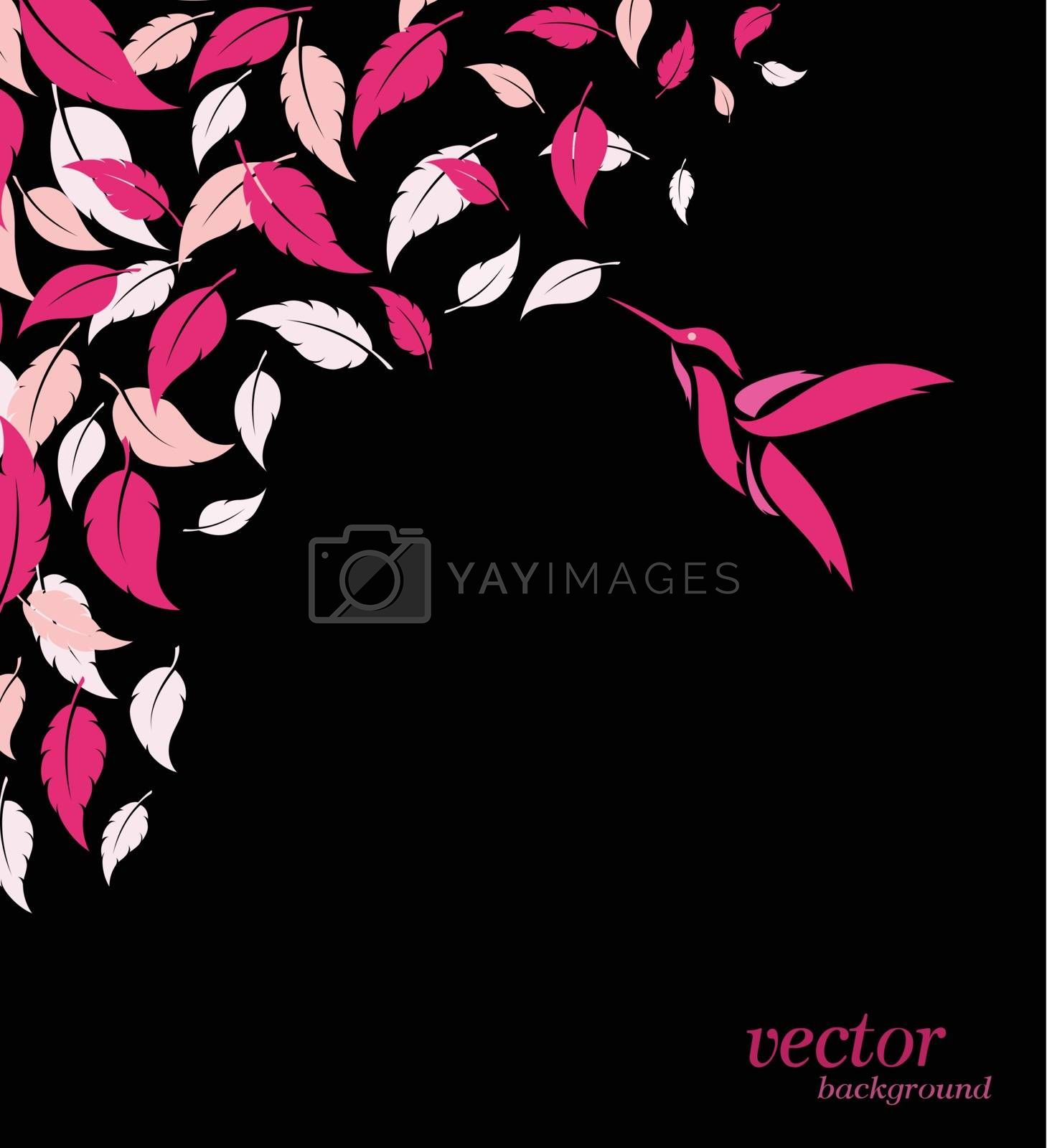 Royalty free image of Abstract pink leaf and hummingbirds background  by yod67