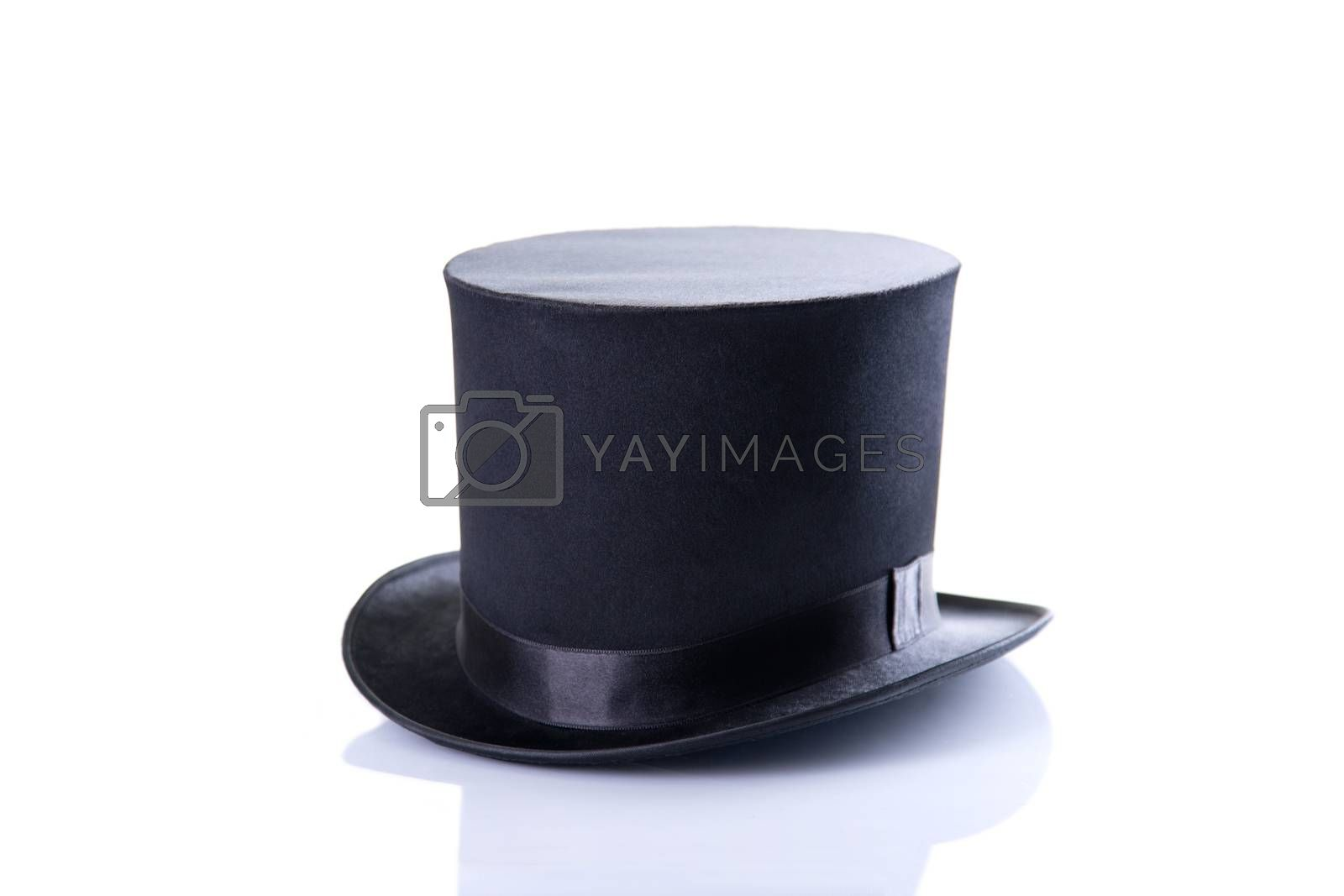 Black classic top hat, isolated on white background