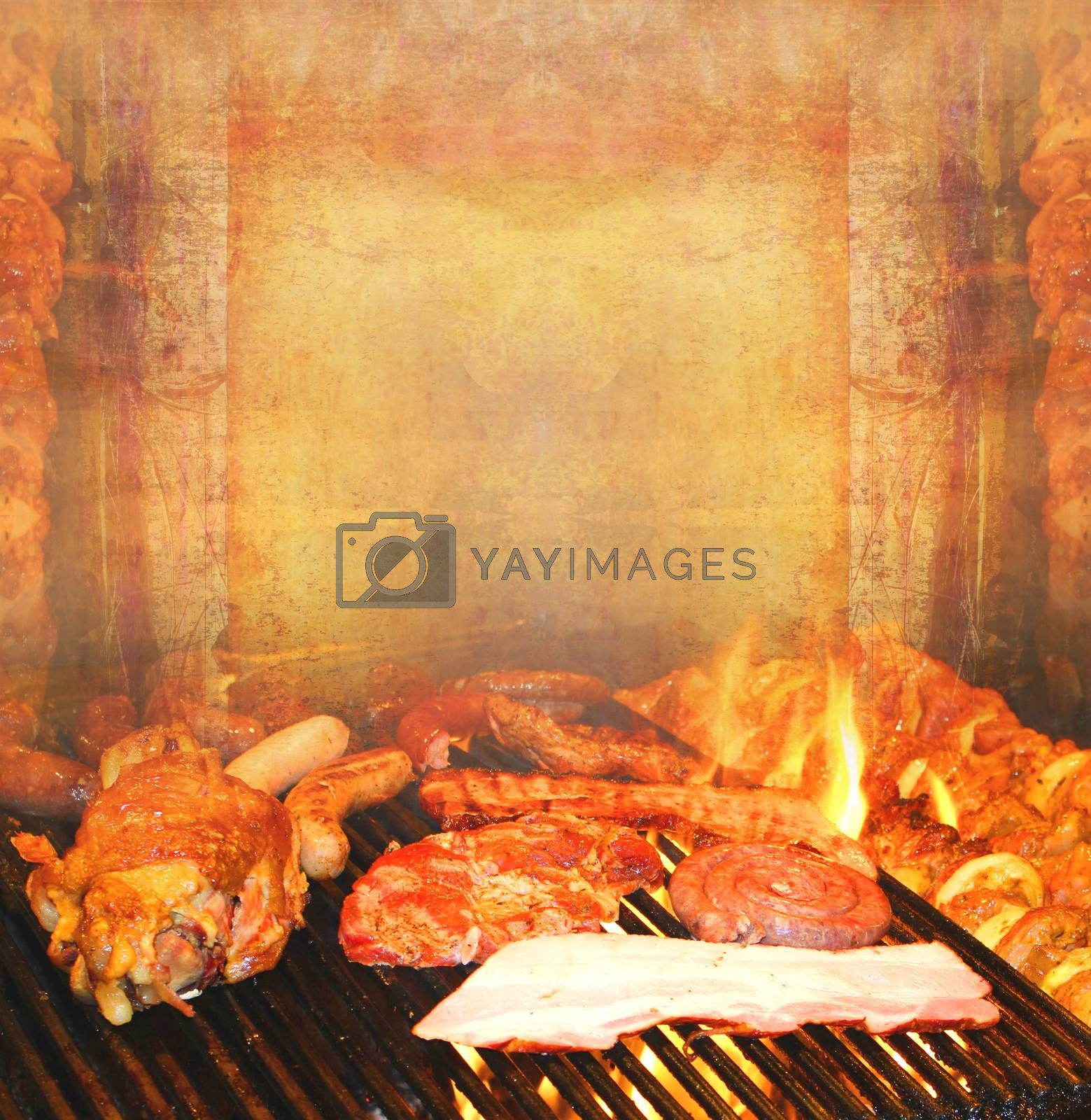 Royalty free image of barbecue with delicious grilled meat ,Abstract vintage frame by JackyBrown