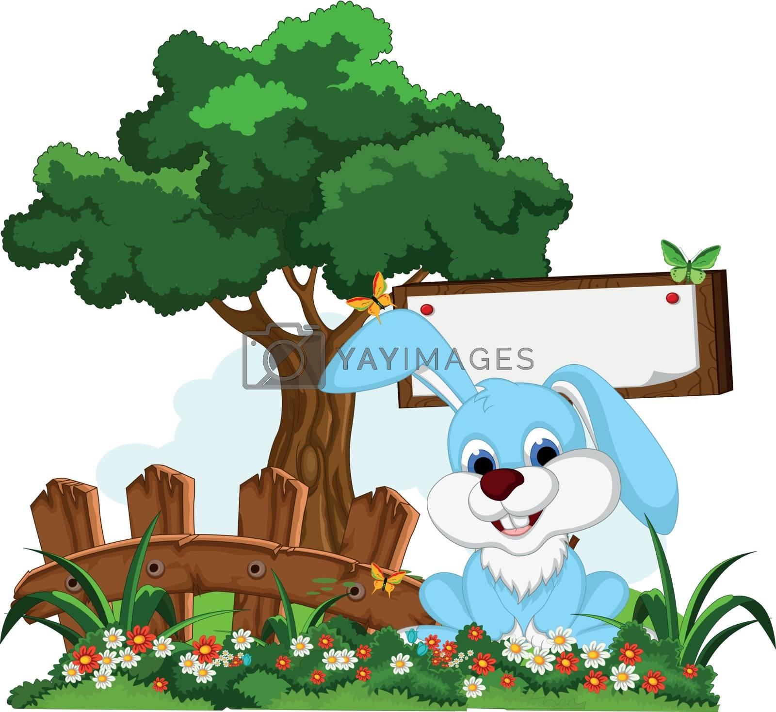 Royalty free image of cute rabbit cartoon with blank board in flower garden by sujono