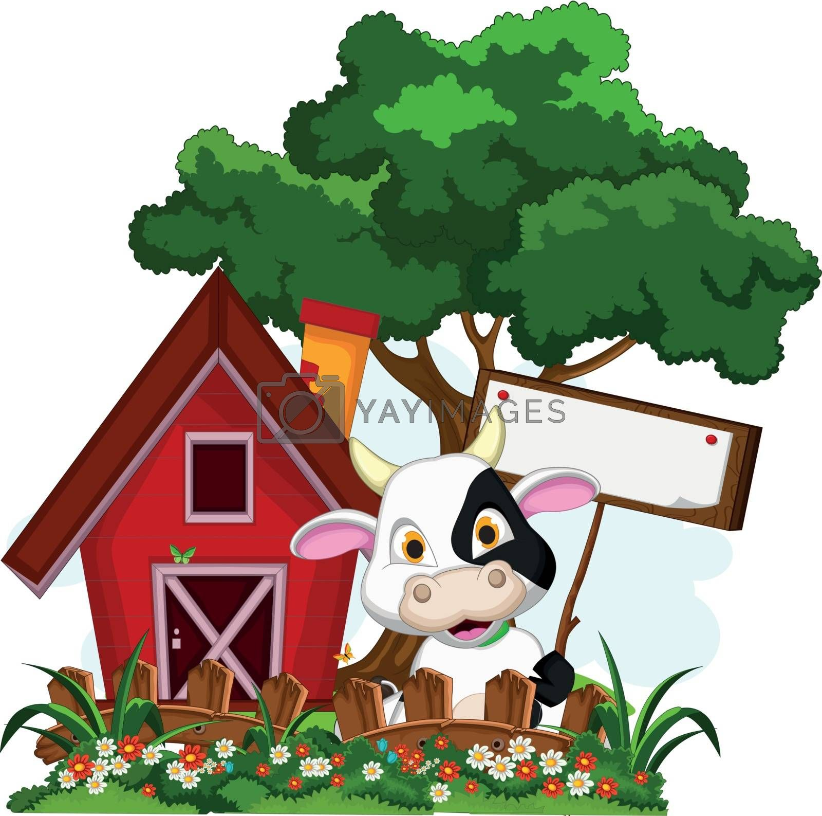 Royalty free image of cow cartoon posing in the farm with blank sign by sujono