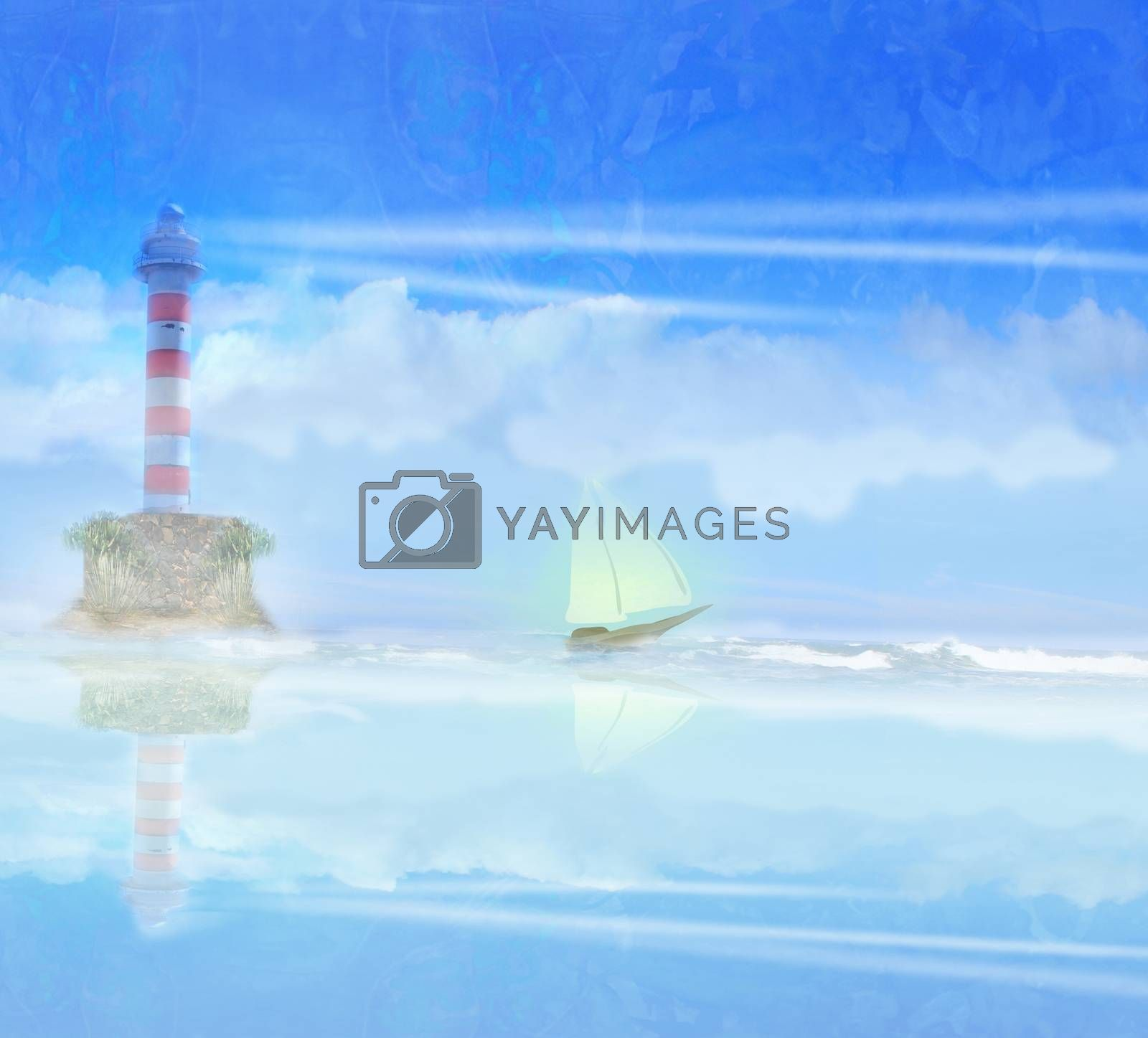 Royalty free image of Lighthouse and sailboat illustration by JackyBrown