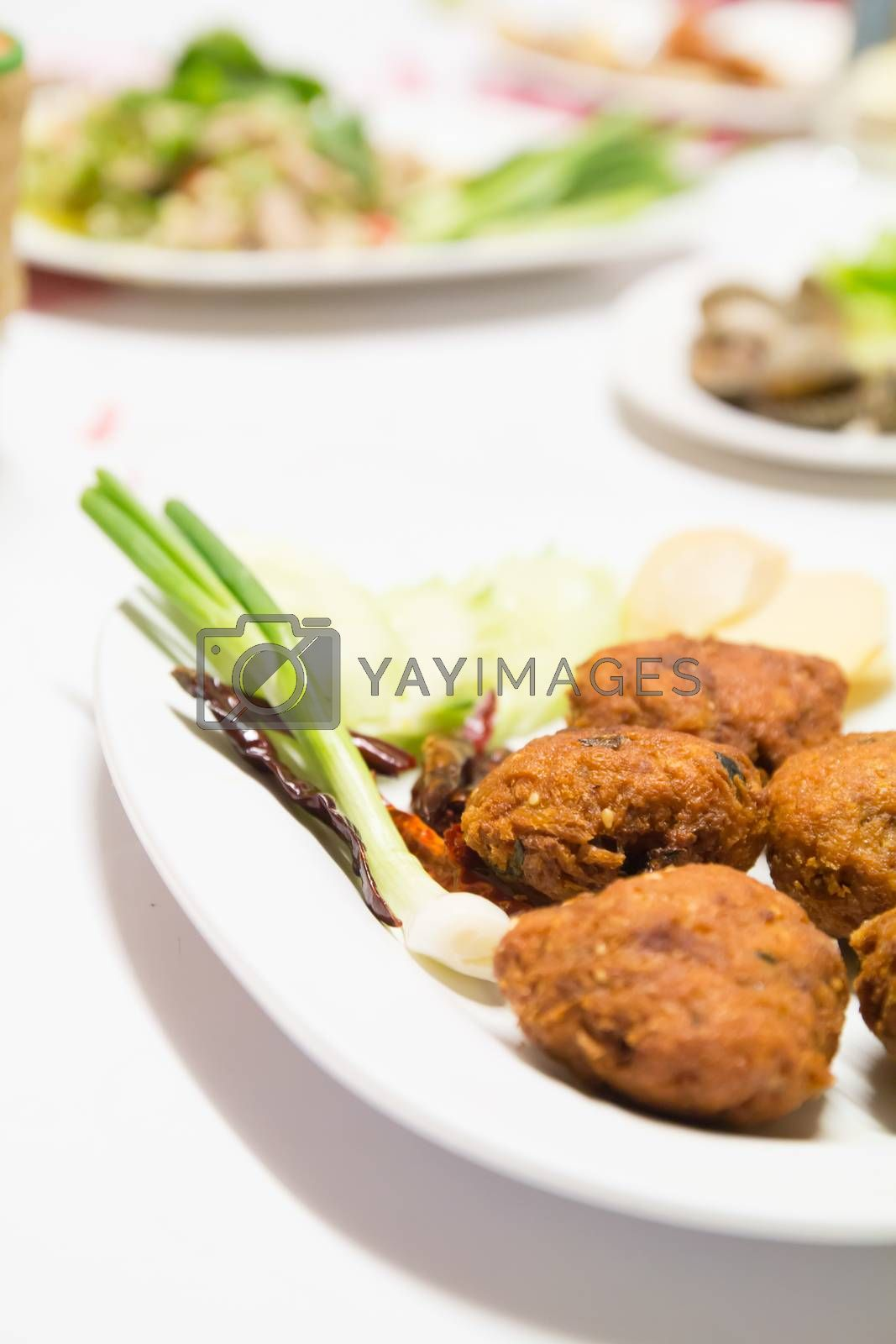 Royalty free image of Thai  deep fried spicy minced pork by theerapoll