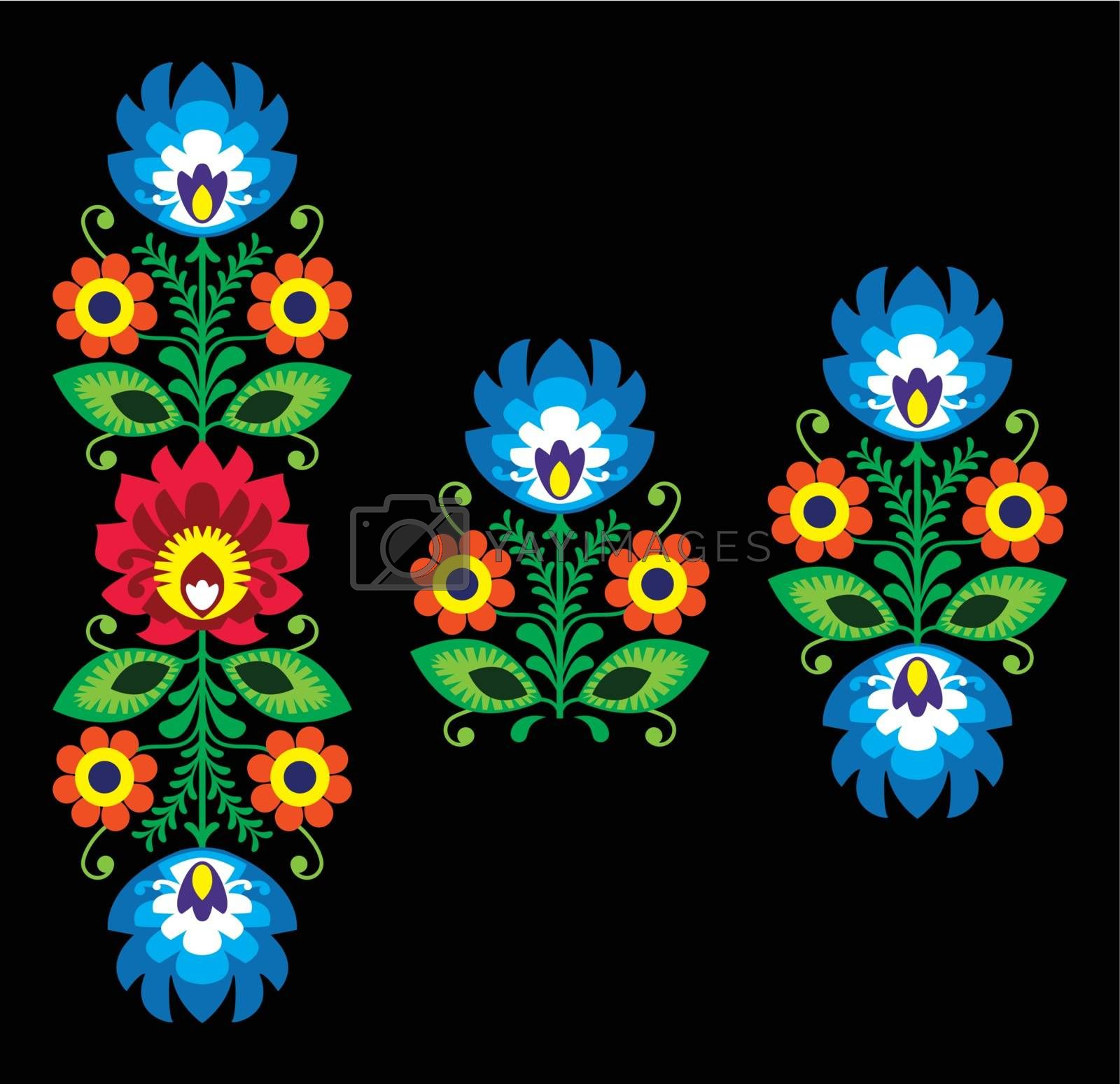 Royalty free image of Folk embroidery with flowers - traditional Polish pattern Wzory Lowickie by RedKoala