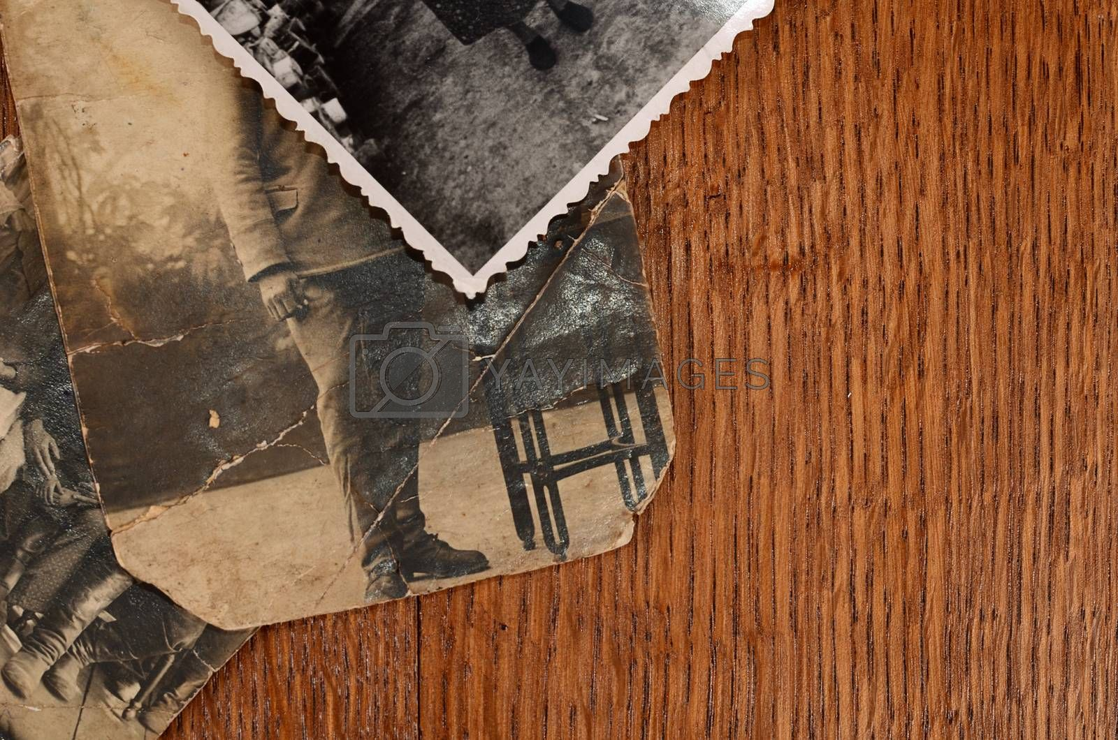 Royalty free image of old photo of people a background by SvetaVo