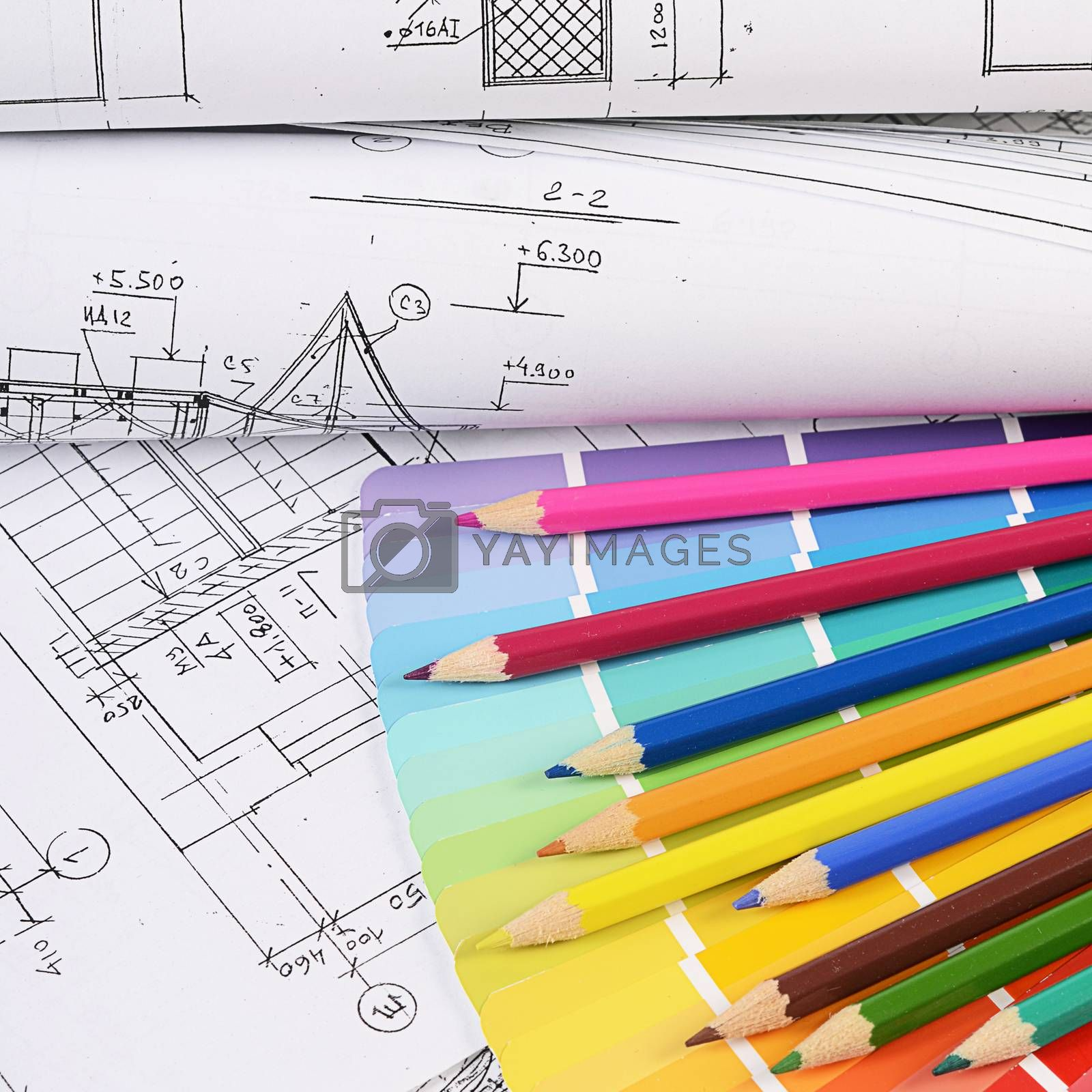 Royalty free image of Projects of houses with color palette by SvetaVo