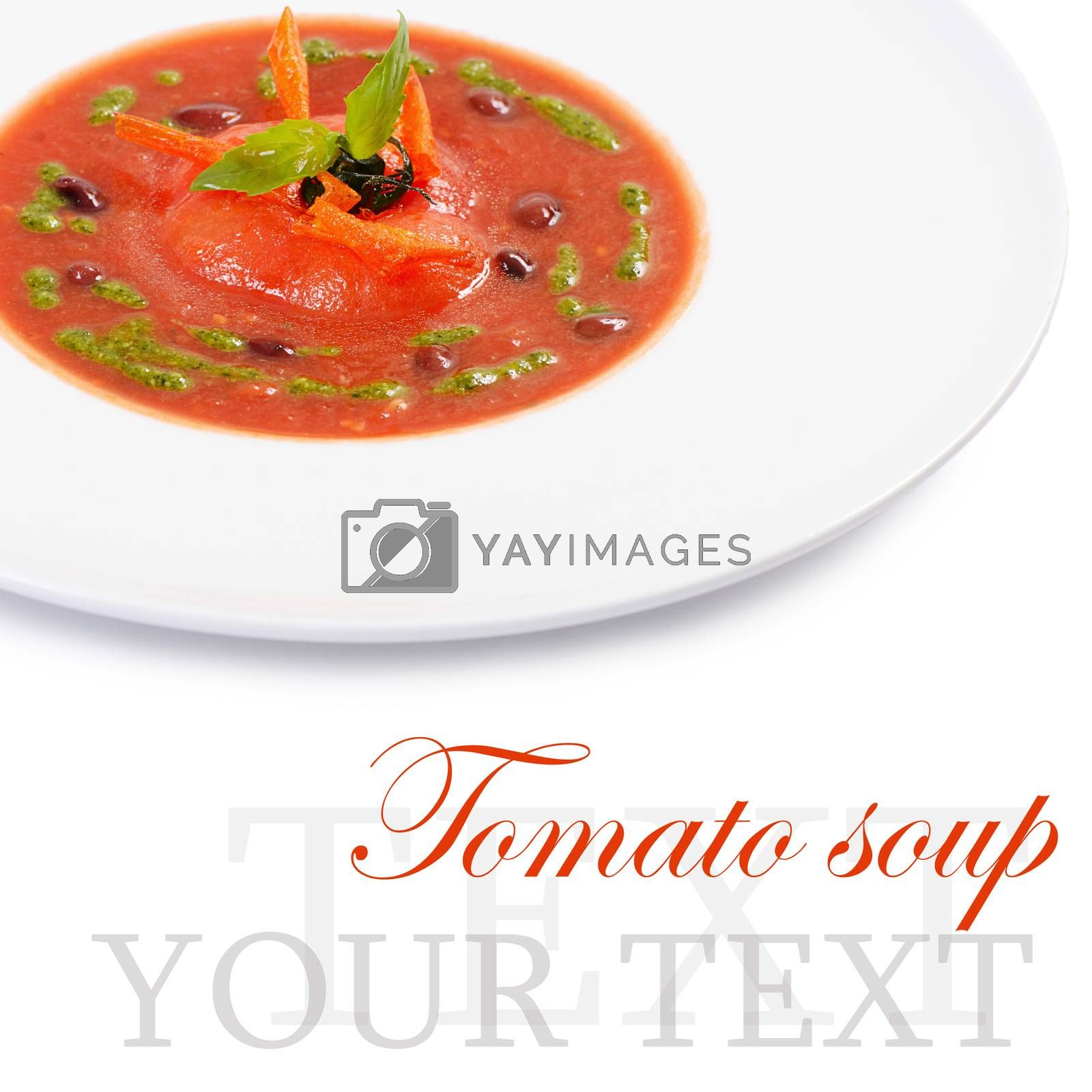 Royalty free image of Soup from baked tomatoes with pesto by SvetaVo