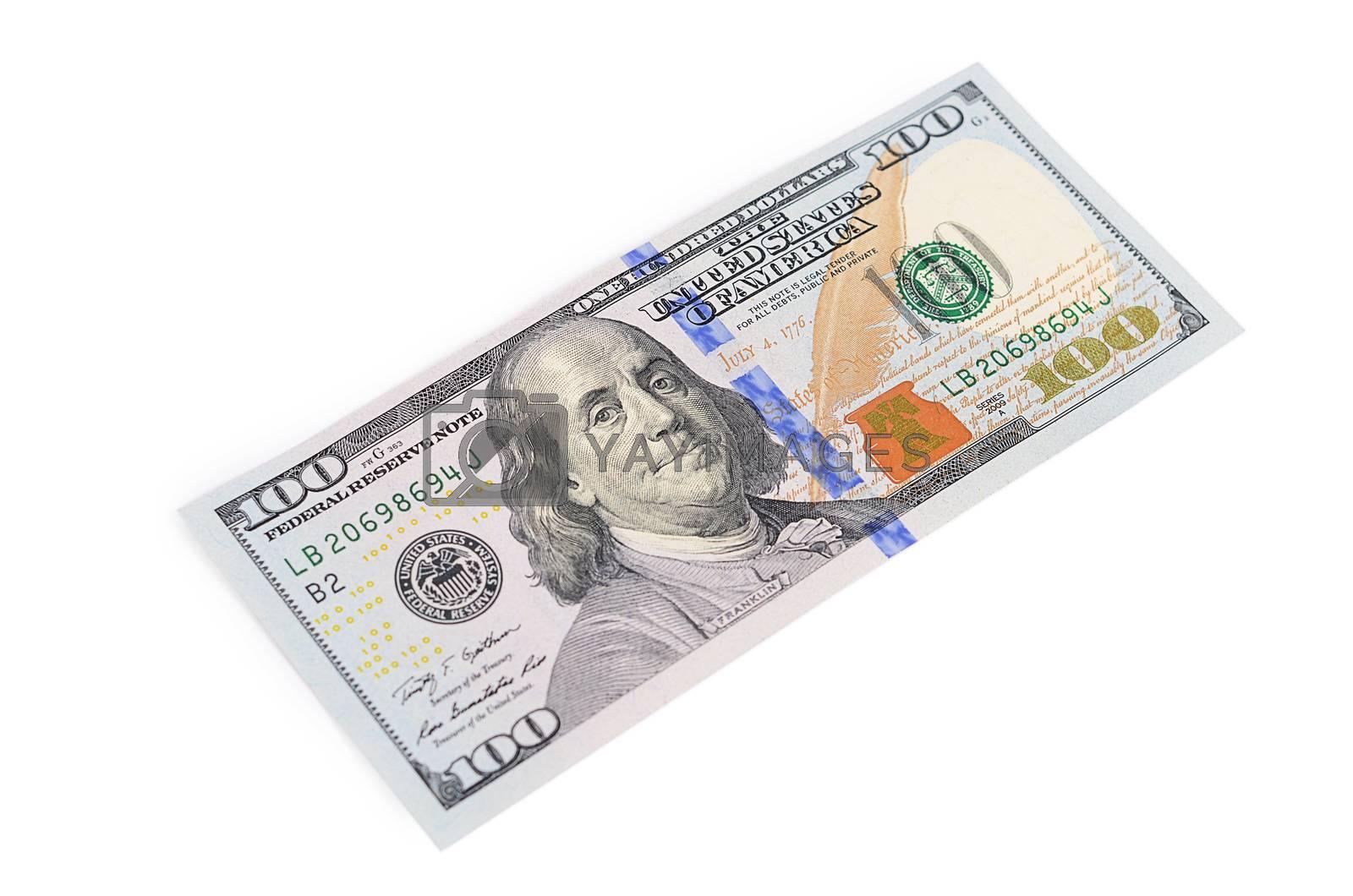 Royalty free image of Hundred  dollars isolated on white background by SvetaVo