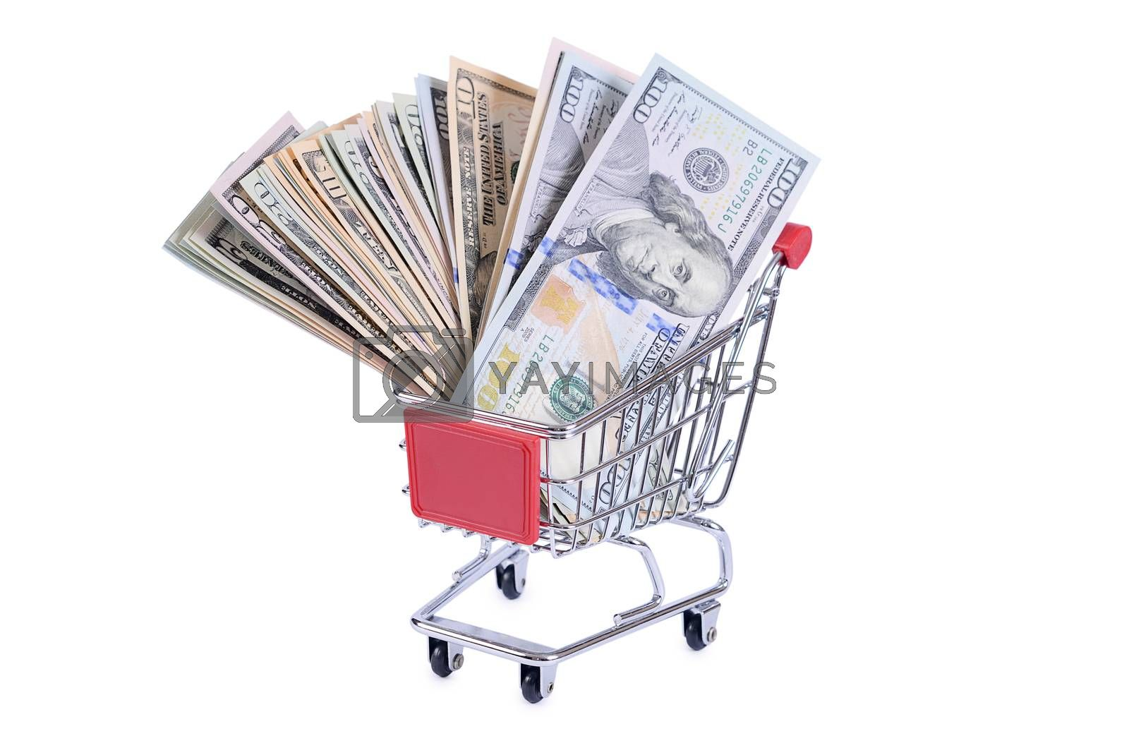 Royalty free image of Dollar bill in the shopping trolley by SvetaVo