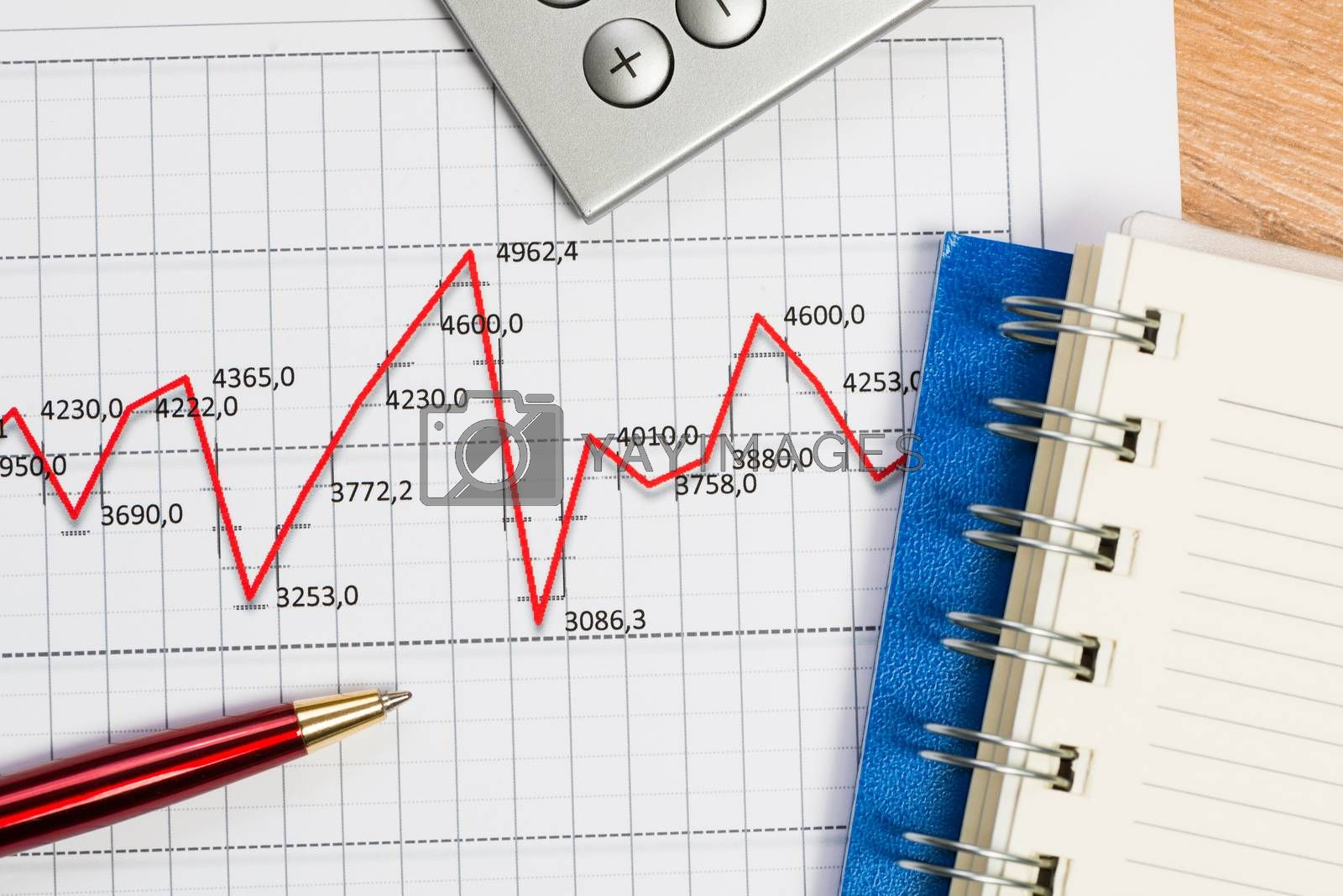 Royalty free image of pen and graph growth, workplace businessman by adam121