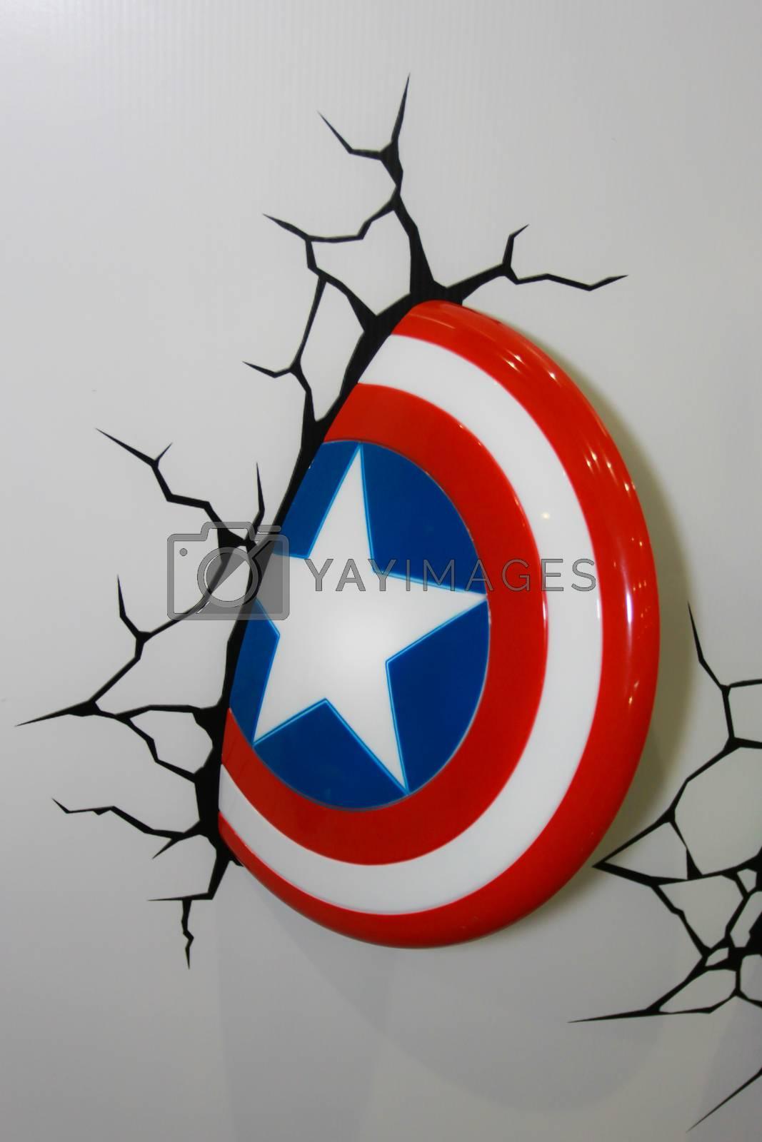 BANGKOK - MAY. 11: A Captain America Shield model in Thailand Comic Con 2014 on May 11, 2014 at Siam Paragon, Bangkok, Thailand.