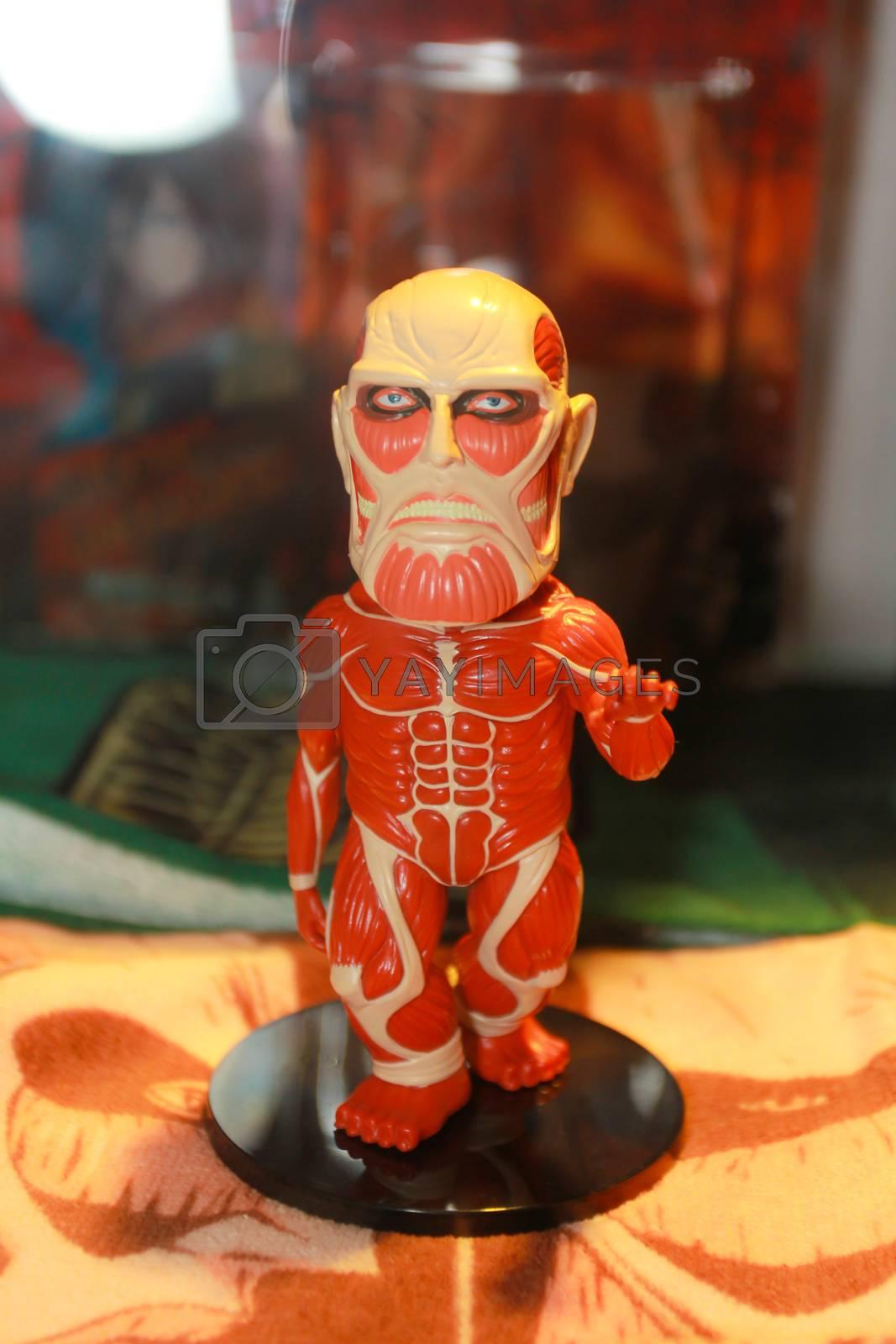 BANGKOK - MAY. 11: An Attack on Titan model in Thailand Comic Con 2014 on May 11, 2014 at Siam Paragon, Bangkok, Thailand.