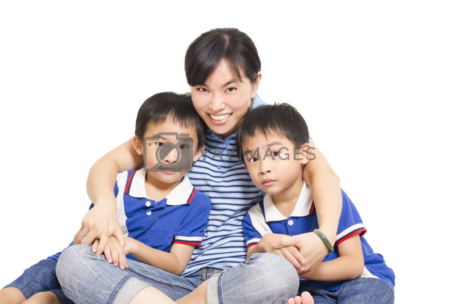 Royalty free image of Mother and twin children by FrankyLiu