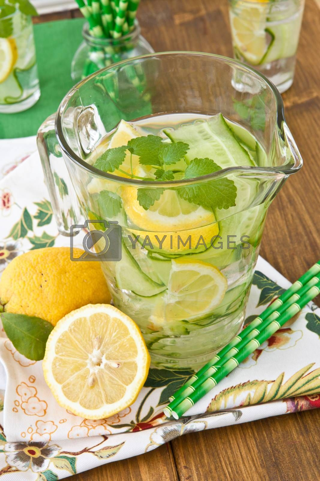 Royalty free image of Lemonade with cucumber and lemons by BarbaraNeveu