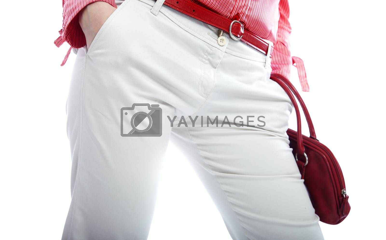 Body part of the woman in fashionable trousers and shirt
