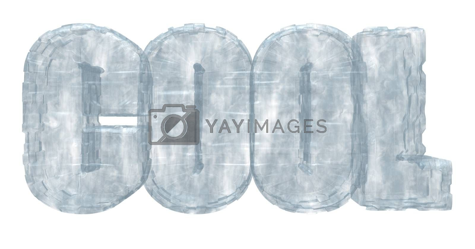frozen word cool on white background - 3d illustration