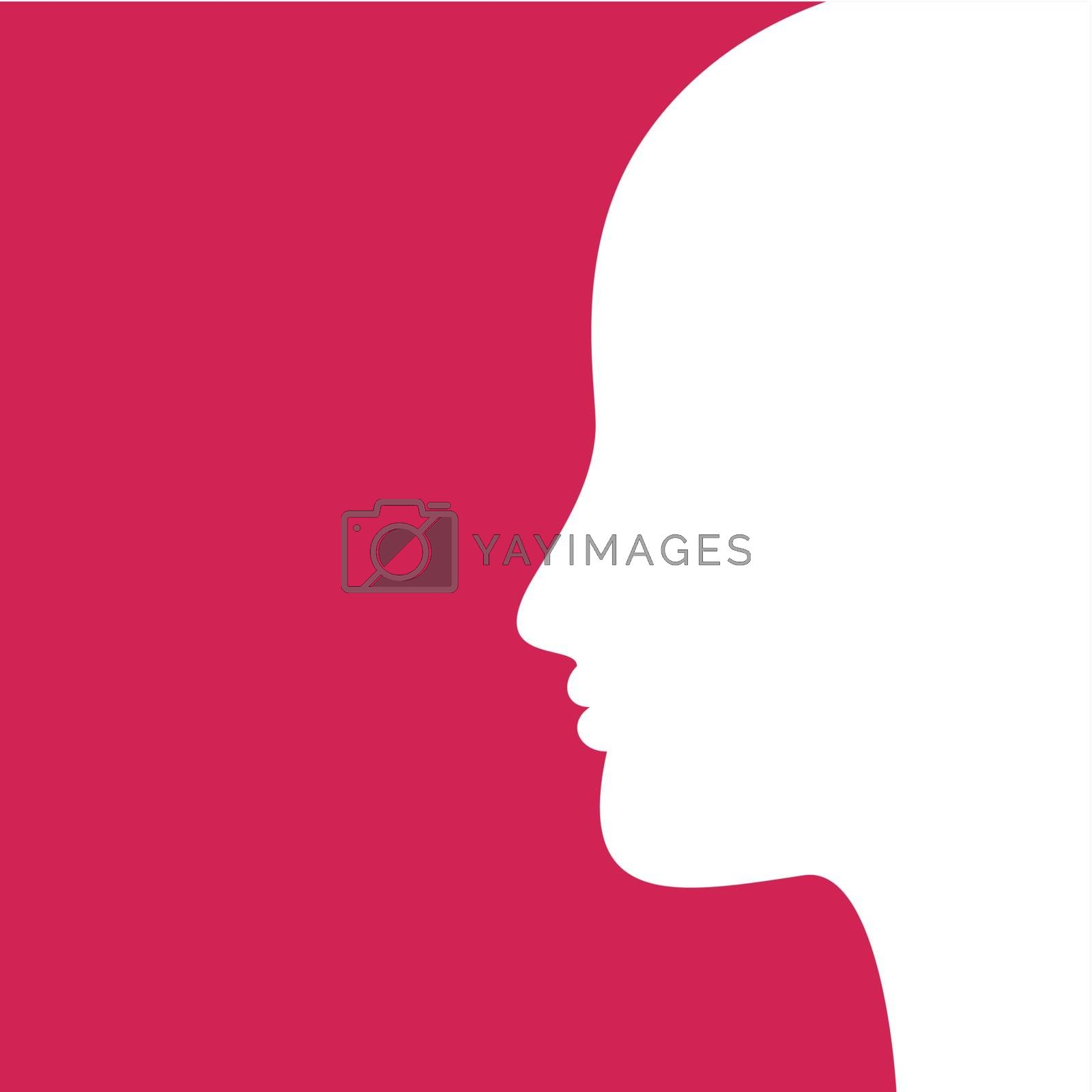 White head of the boy on a pink background