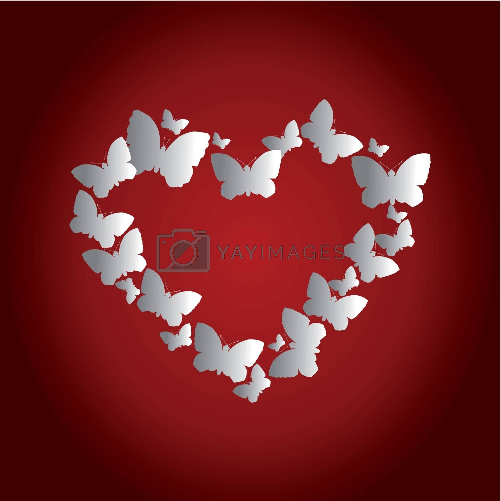 Heart in the form of butterflies on a red background