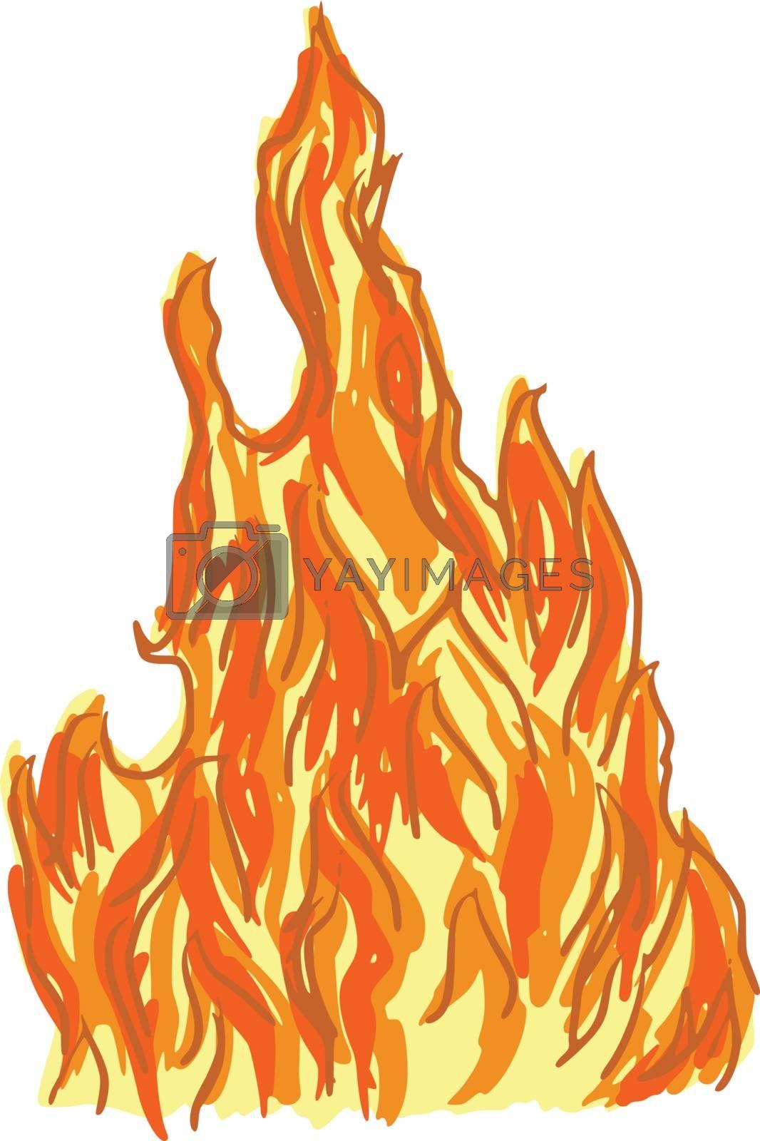 hand drawn, cartoon, sketch illustration of fire