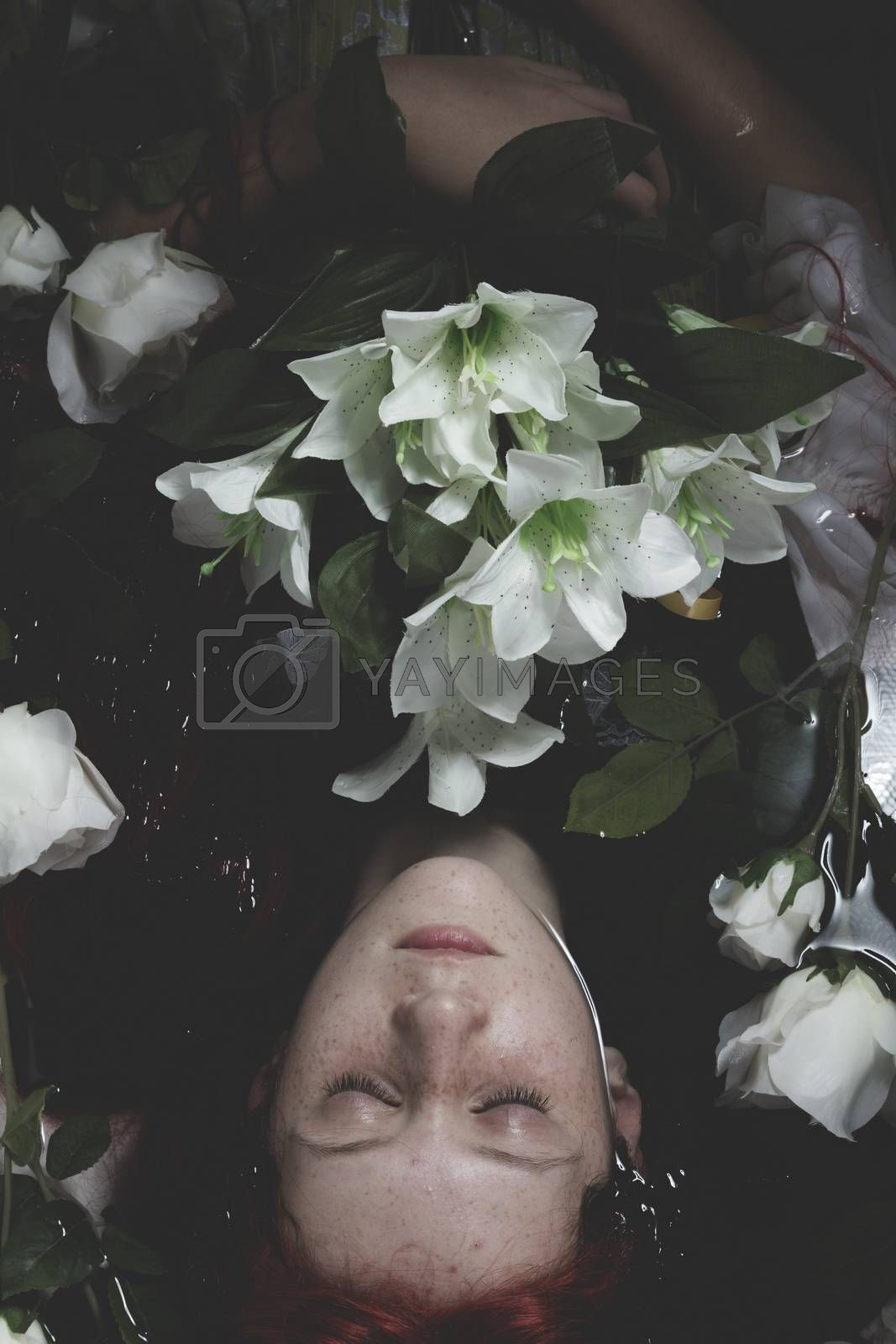 Innocence, Teen submerged in water with white roses, romance sce by FernandoCortes