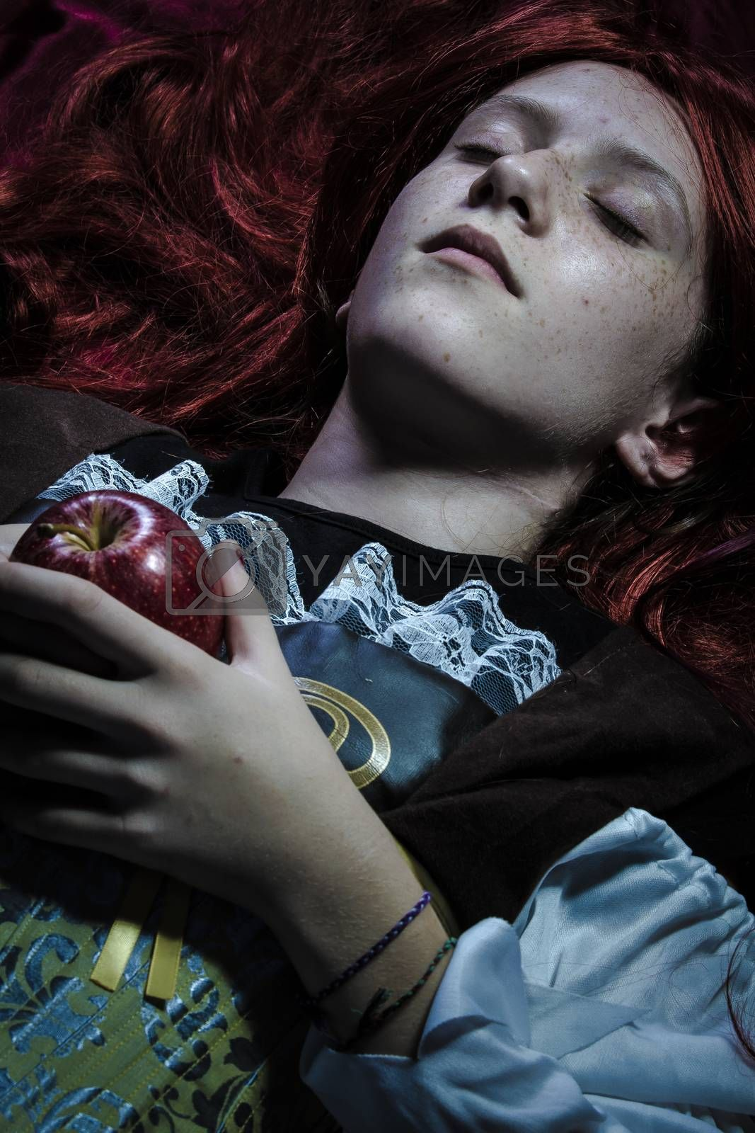 Magic, Teen with a red apple lying, tale scene