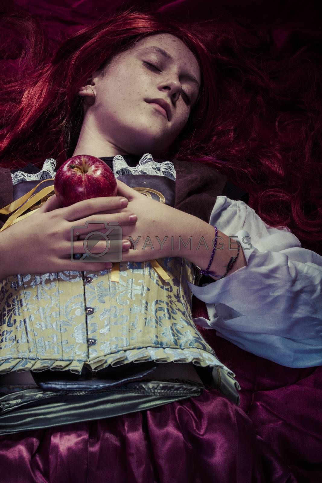 Fairytale, Teen with a red apple lying, tale scene by FernandoCortes