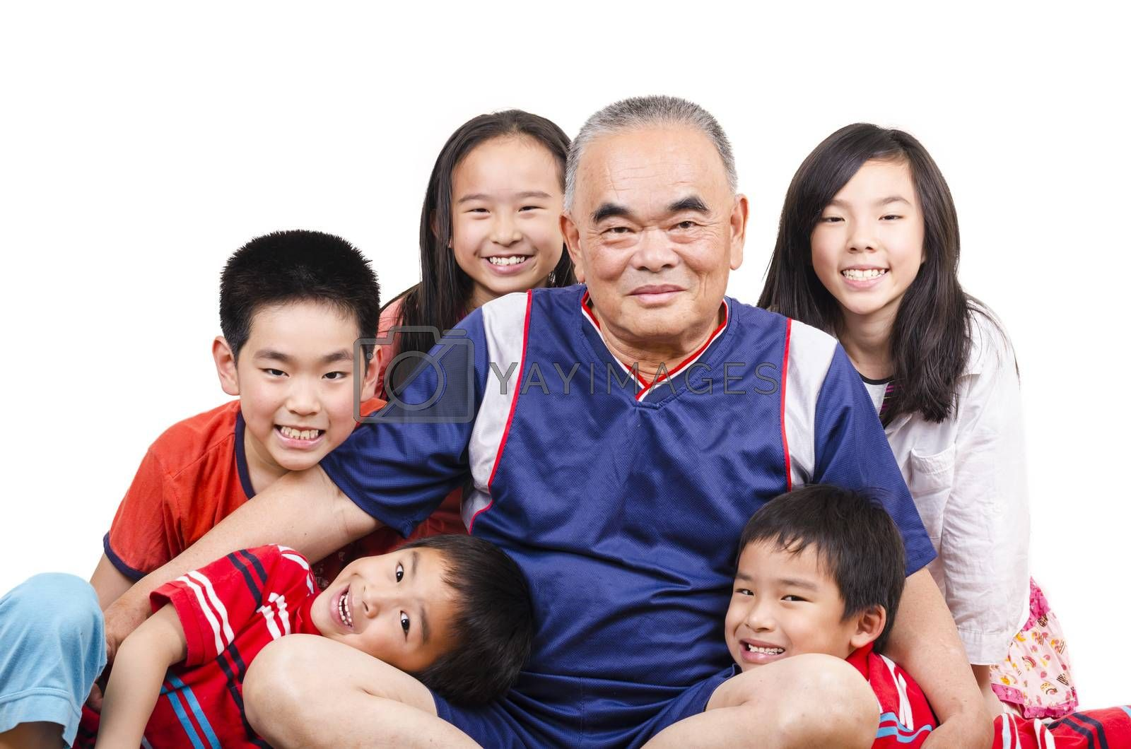 Royalty free image of Grandfather and grandchildren by FrankyLiu