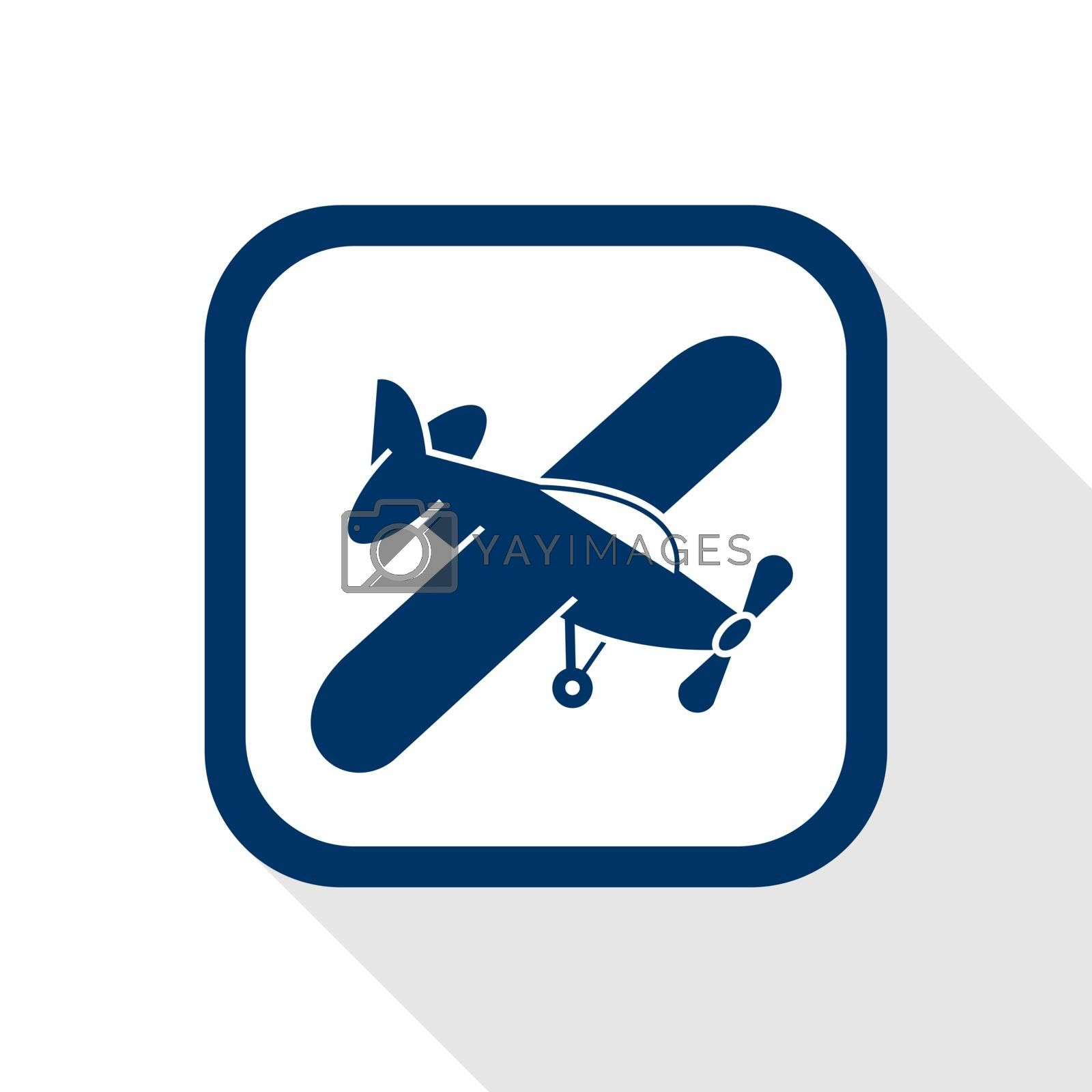 square blue icon airplane with long shadow