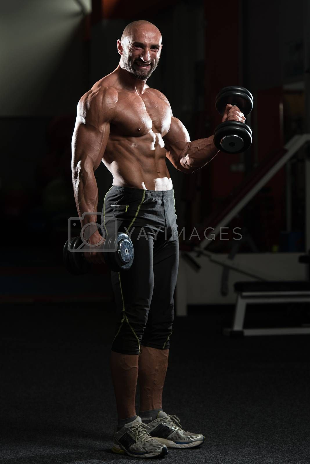 Mature Man Working Out Biceps In A Health Club