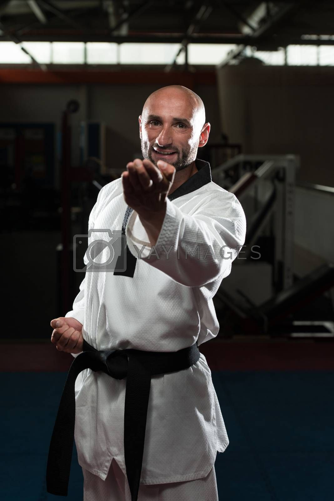Mature Men Practicing His Karate Moves
