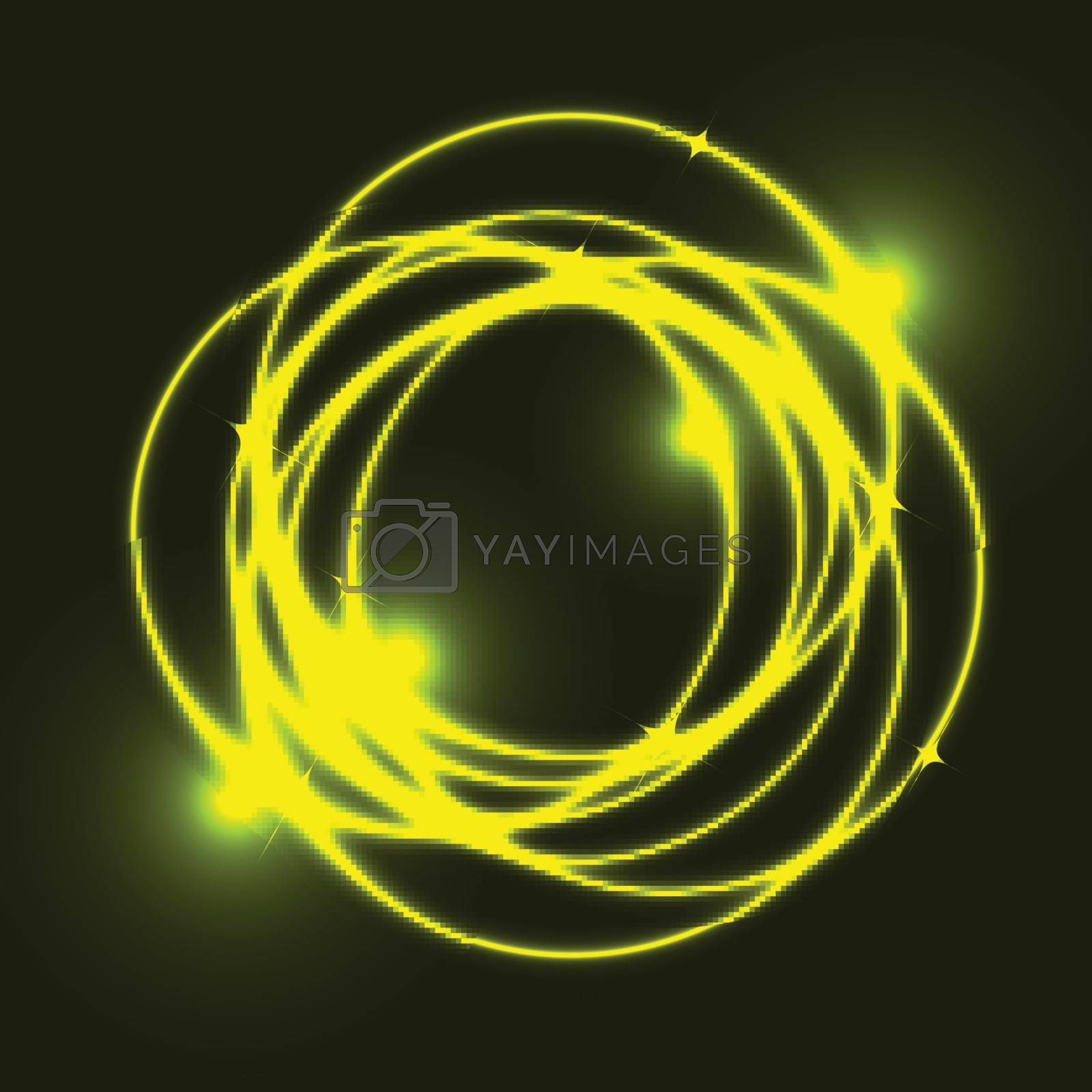 Yellow plasma circle effect background, stock vector