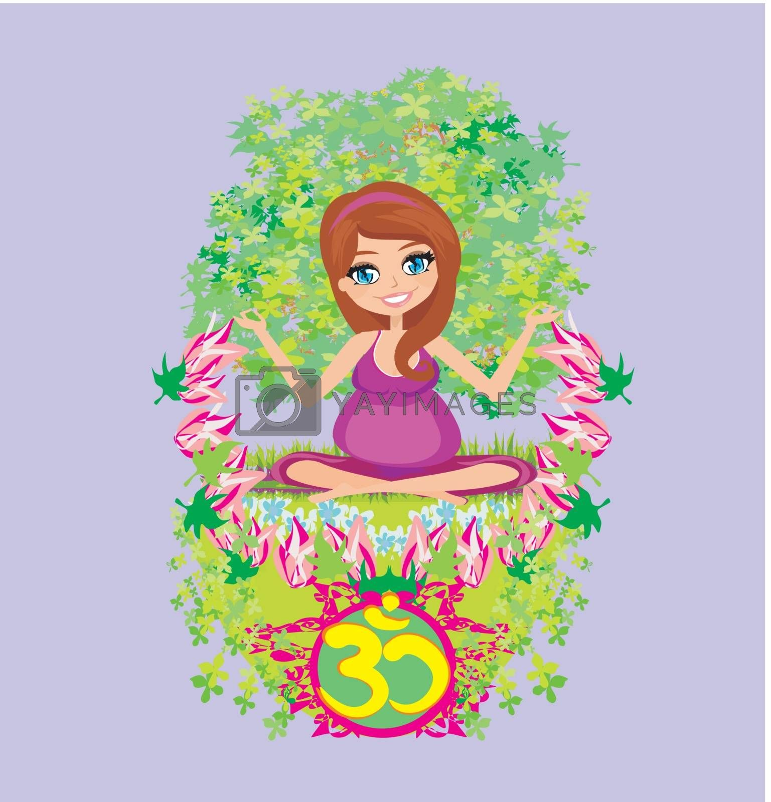 pregnant girl sits and meditates,abstract card