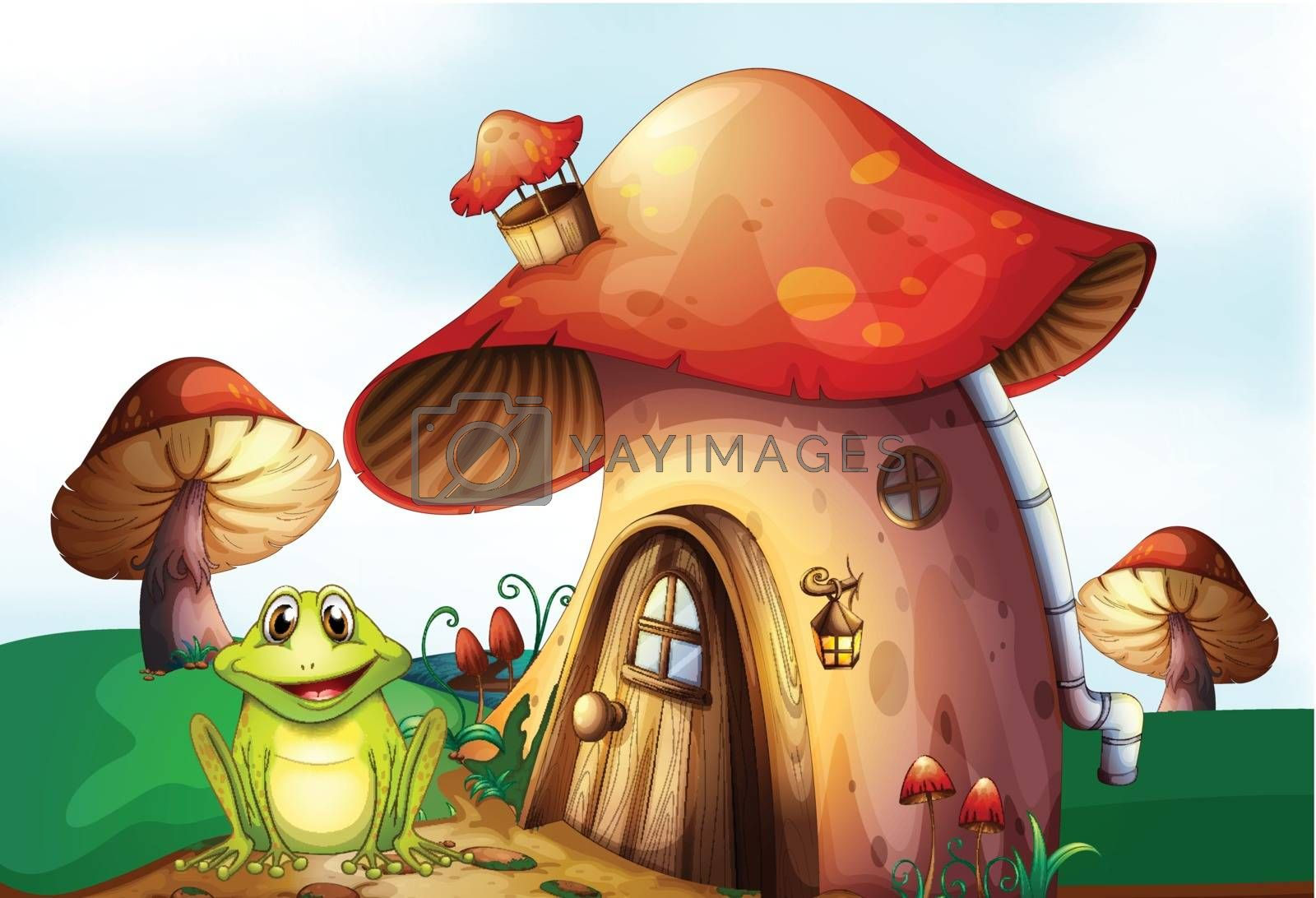 Illustration of a frog beside a mushroom house
