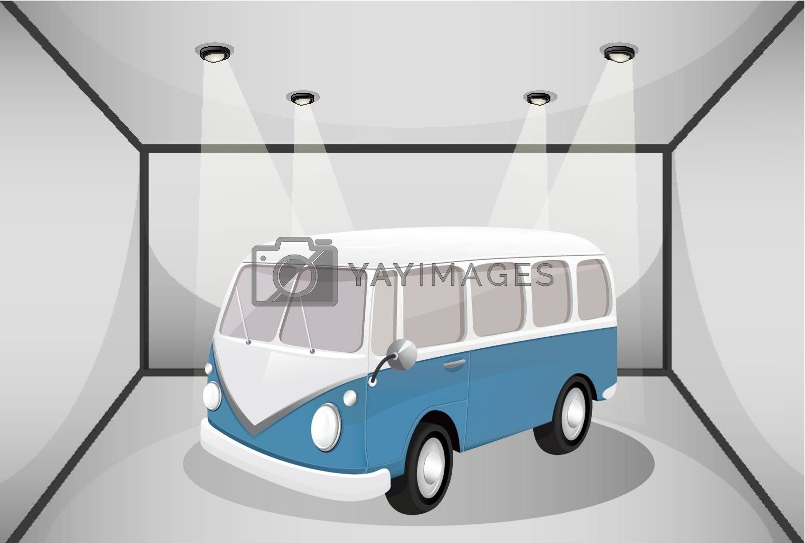 Illustration of a bus in the garage