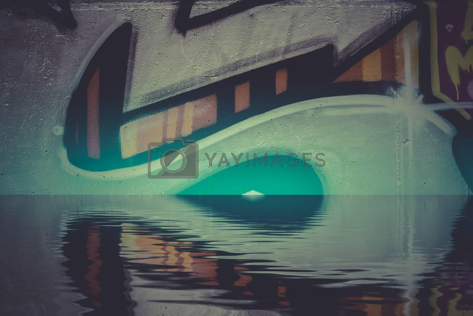 Graffiti reflection in the water, artistic urban arrows